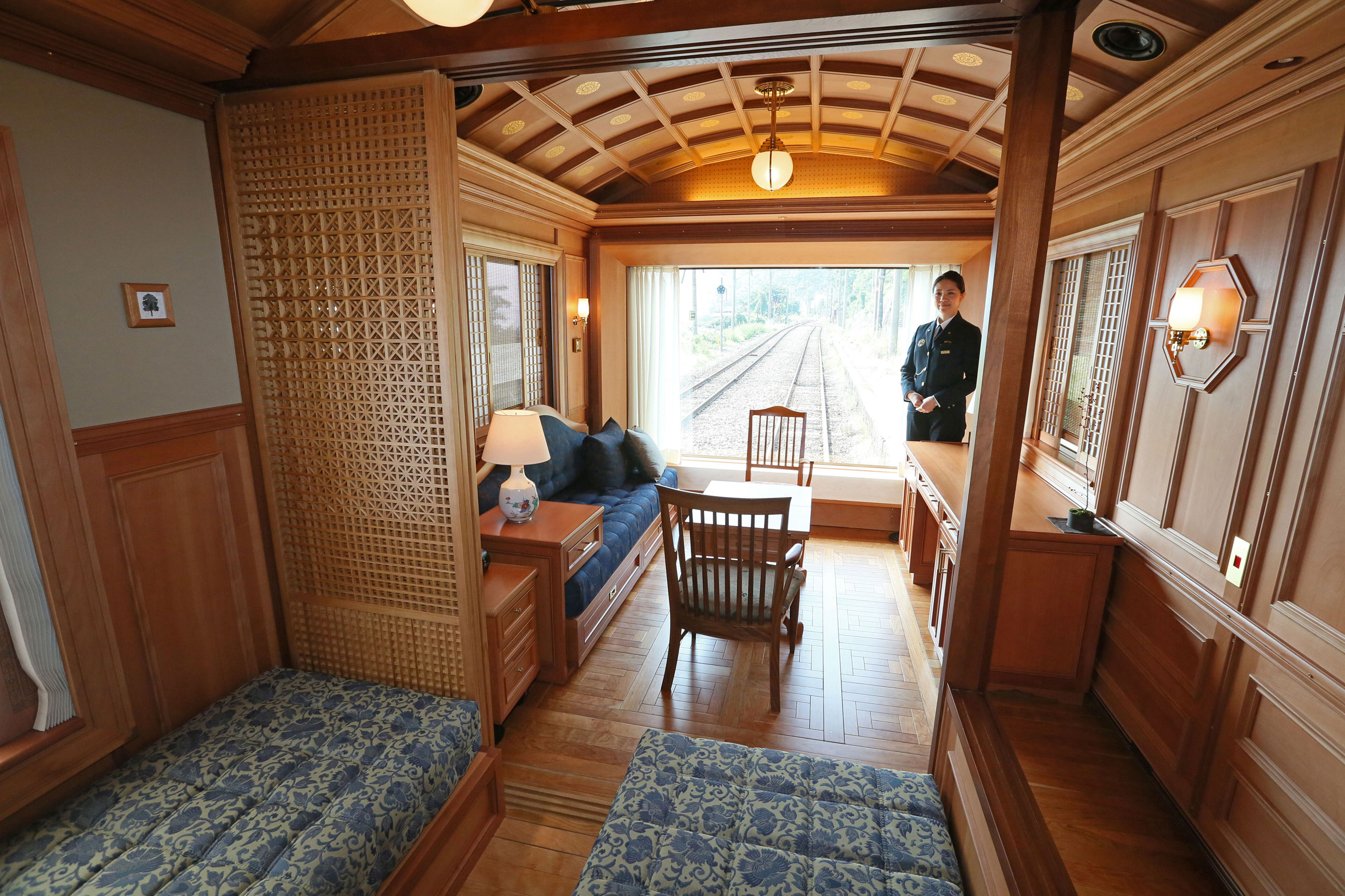 JR Kyushu showcases a luxury passenger room aboard the Seven Star cruise train on Oct. 10, 2013. The high grade lounge car costs 560,000 Japanese yen (approximately US $5,300) for a 4-day trip around Kyushu.