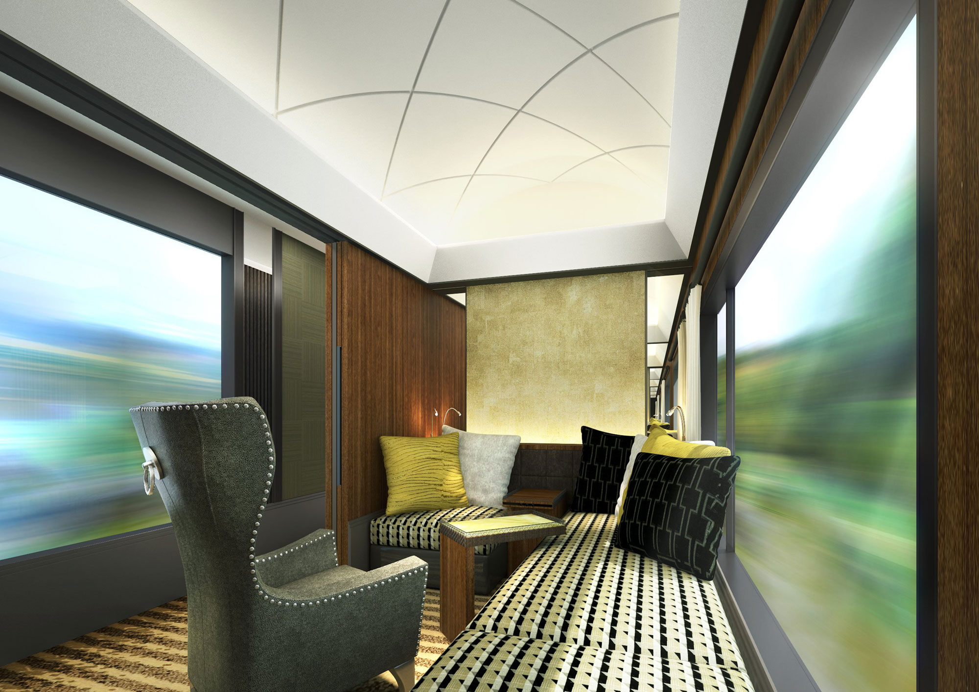 An example of a second class compartment on JR West's luxury cruise train.