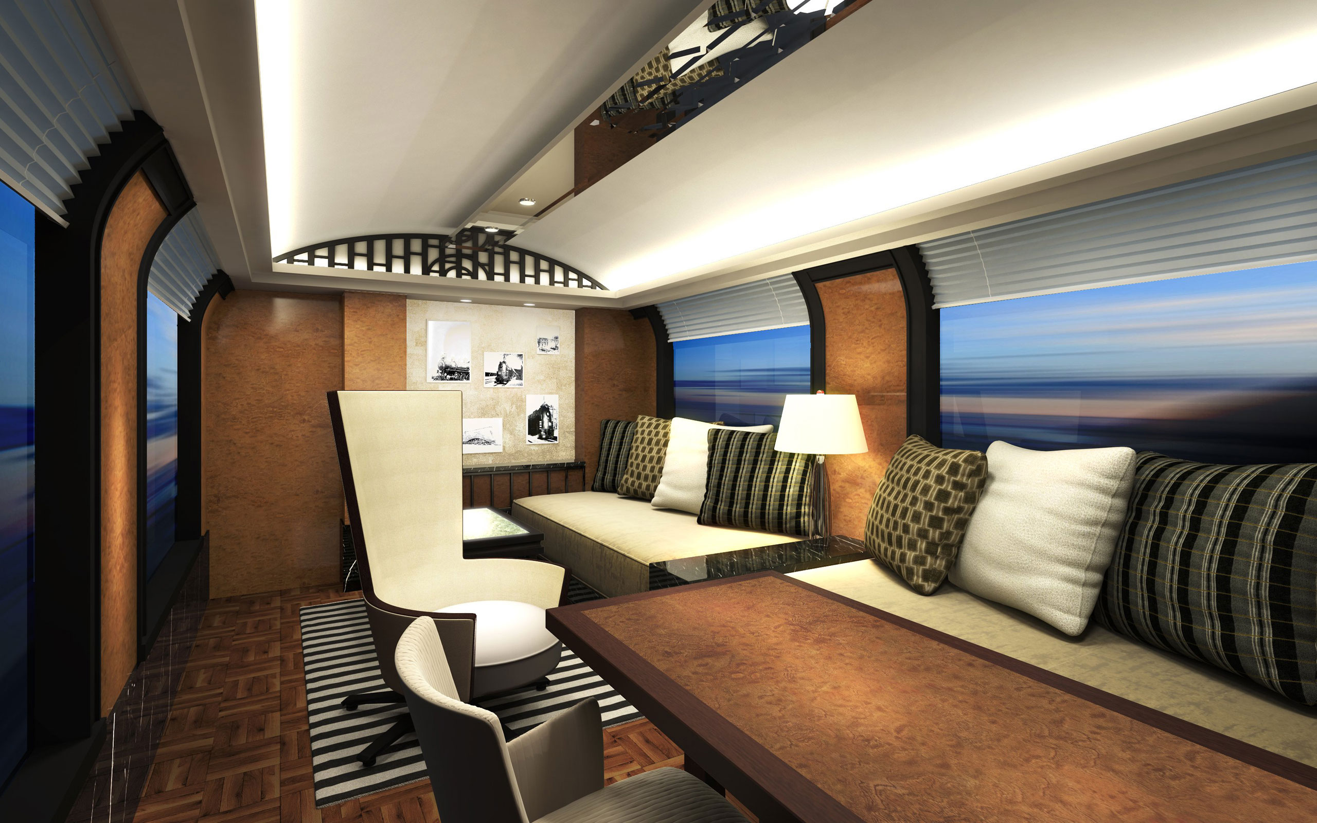 A view of a deluxe suite living room on JR West's cruise train.
