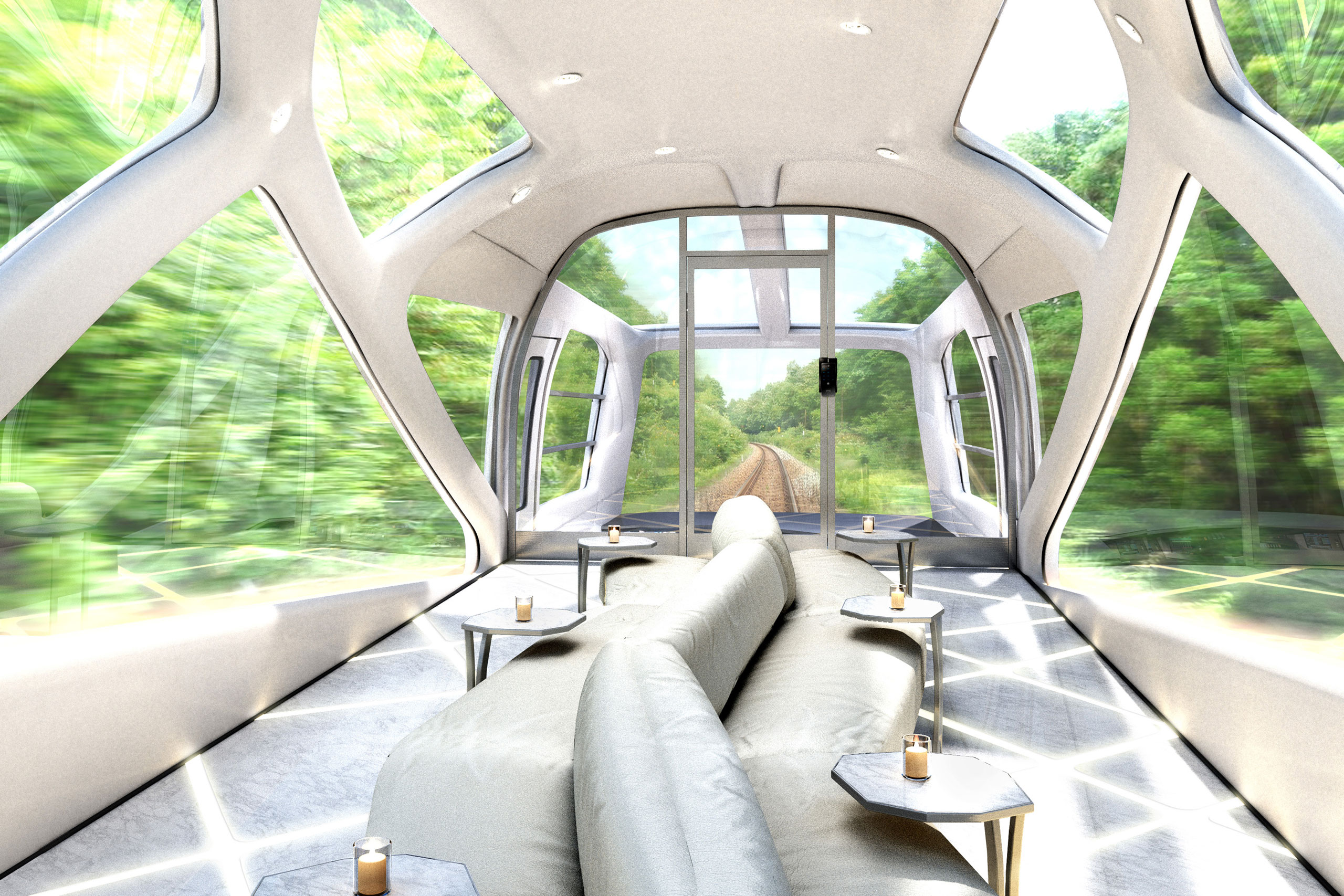 A rendering of East Japan Railway Company's design for the front lounge of a luxury train that's scheduled debut in Spring 2017. The train is being designed by Ferrari designer Ken Okuyama.