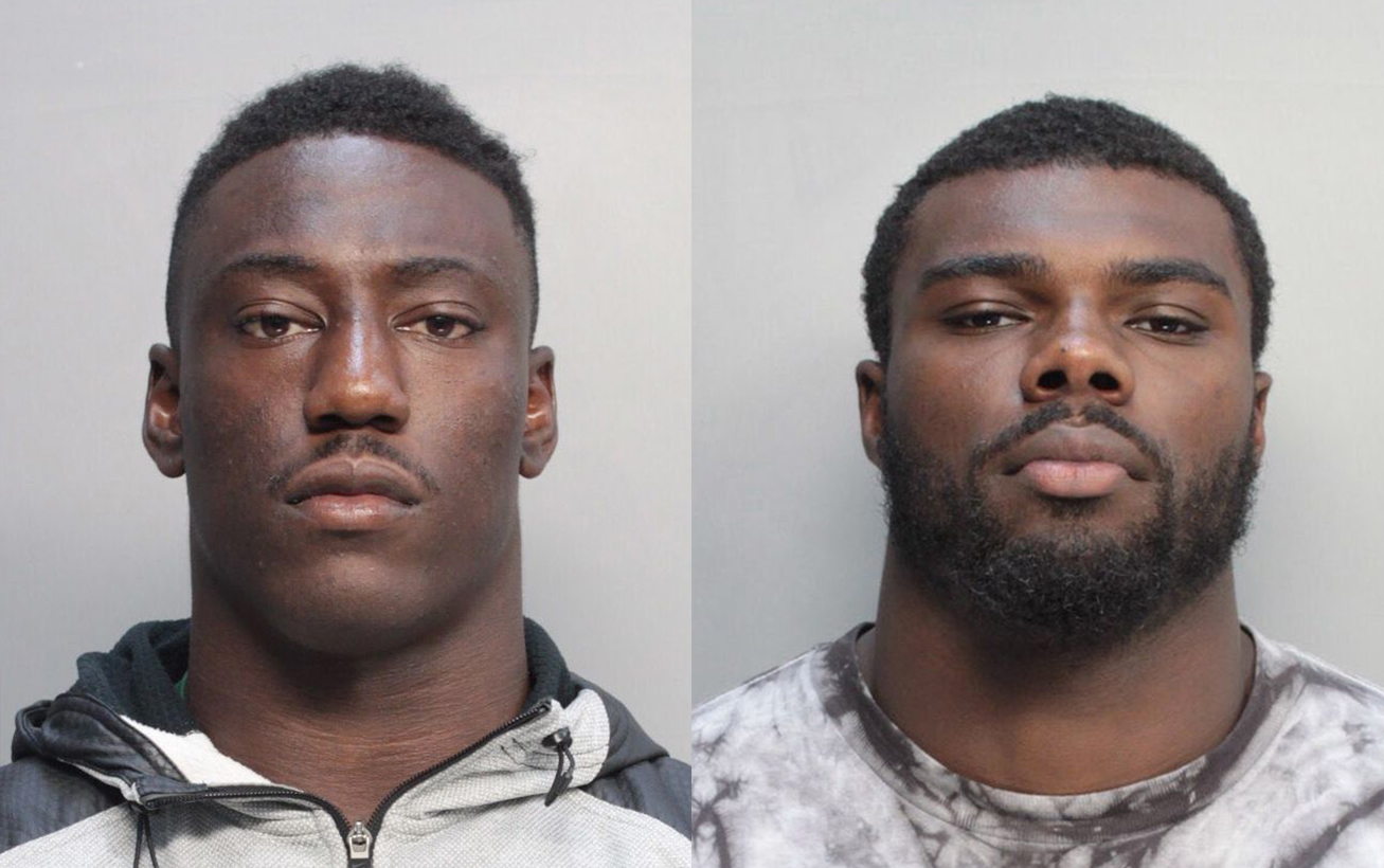 University of Miami football players Jawand Blue and Alex Figueroa on July 8, 2014