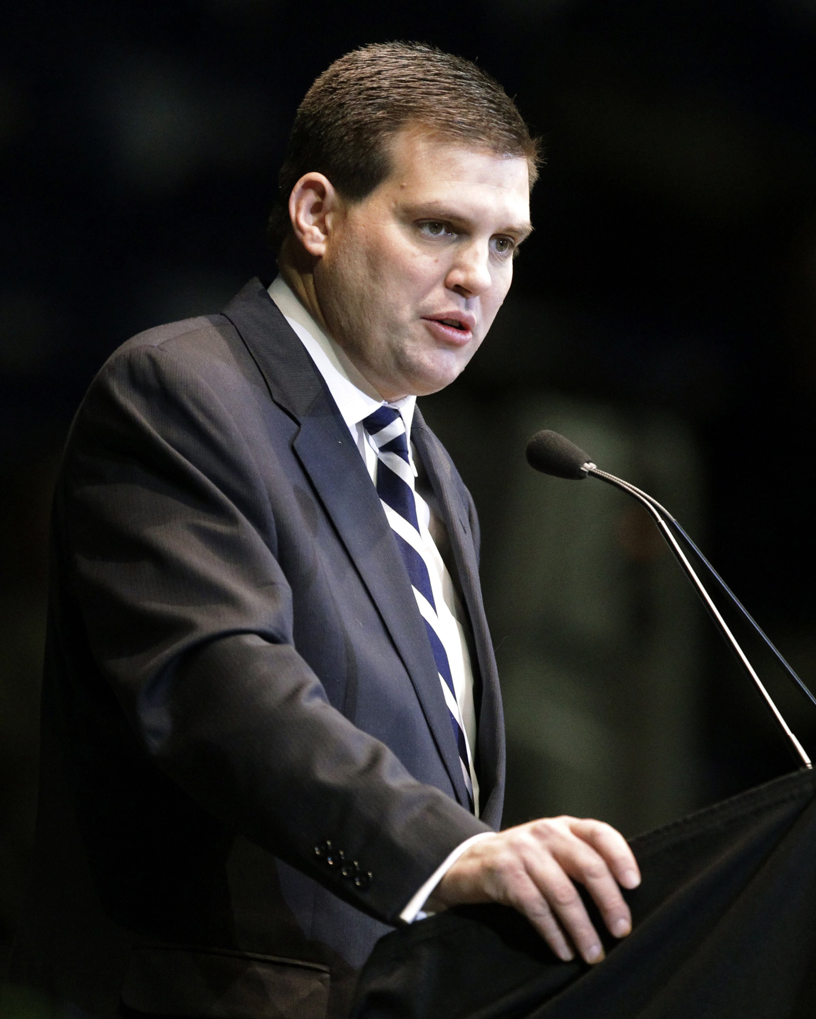 Jay Paterno, son of former Penn State football head coach Joe Paterno, speaks during a memorial service for his father in State College, Pa., in 2012.