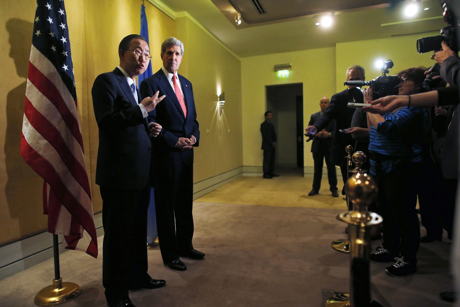 U.N. Secretary-General Ban Ki-moon, left, and U.S. Secretary of State John Kerry speak to reporters in Cairo on July 21, 2014
