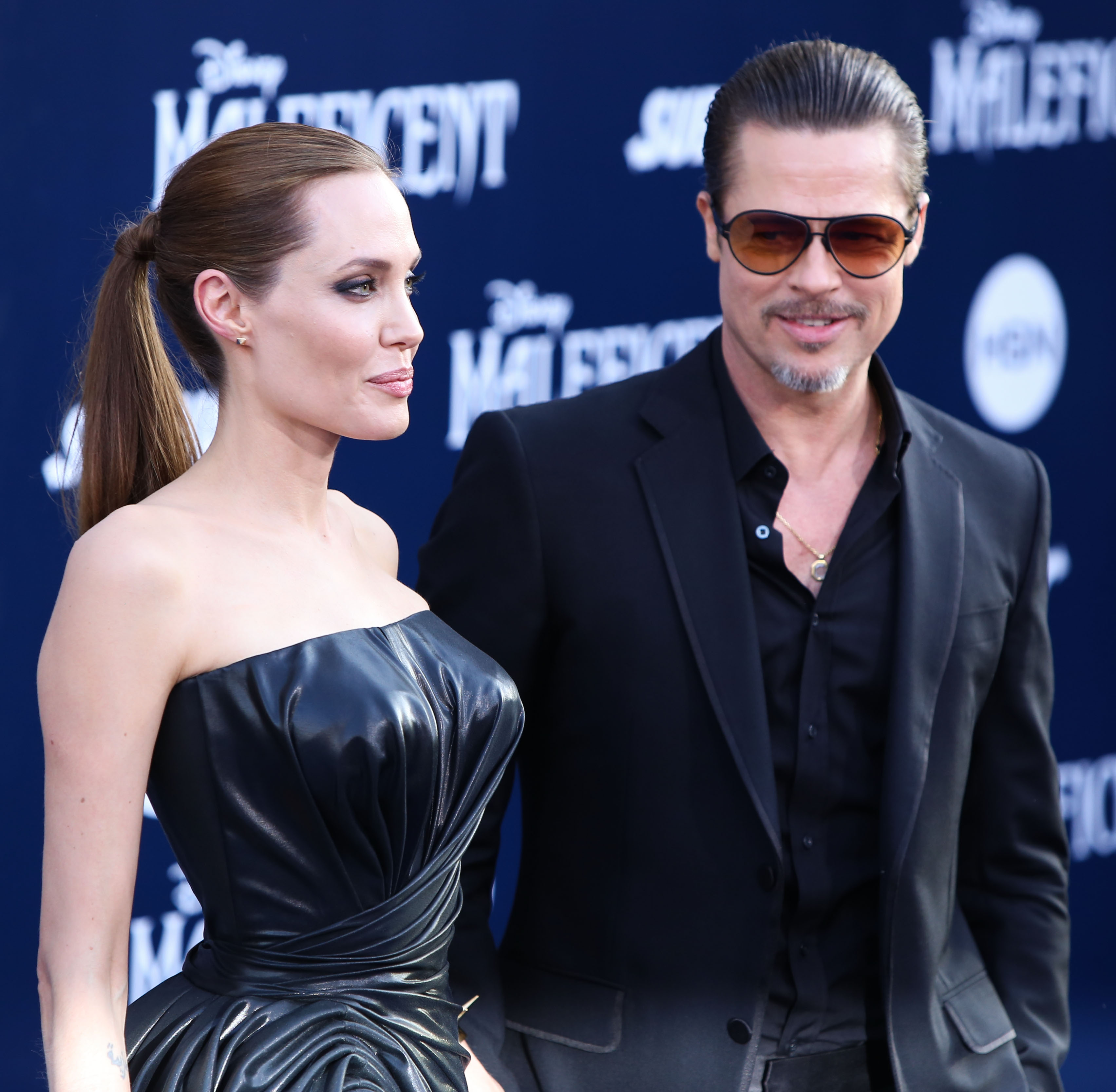 Actress Angelina Jolie and Actor Brad Pitt arrive at the World Premiere Of Disney's 'Maleficent' held at the El Capitan Theatre on May 28, 2014 in Hollywood, Los Angeles.