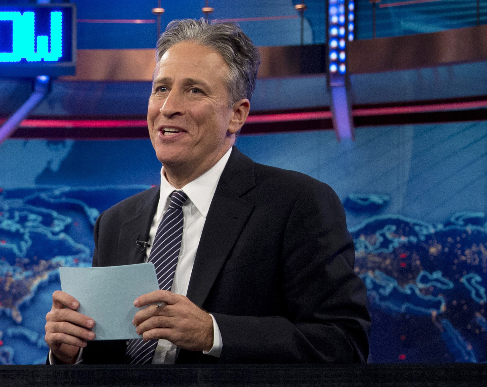 Jon Stewart speaks during a taping of  The Daily Show with John Stewart,  in New York. in 2012.