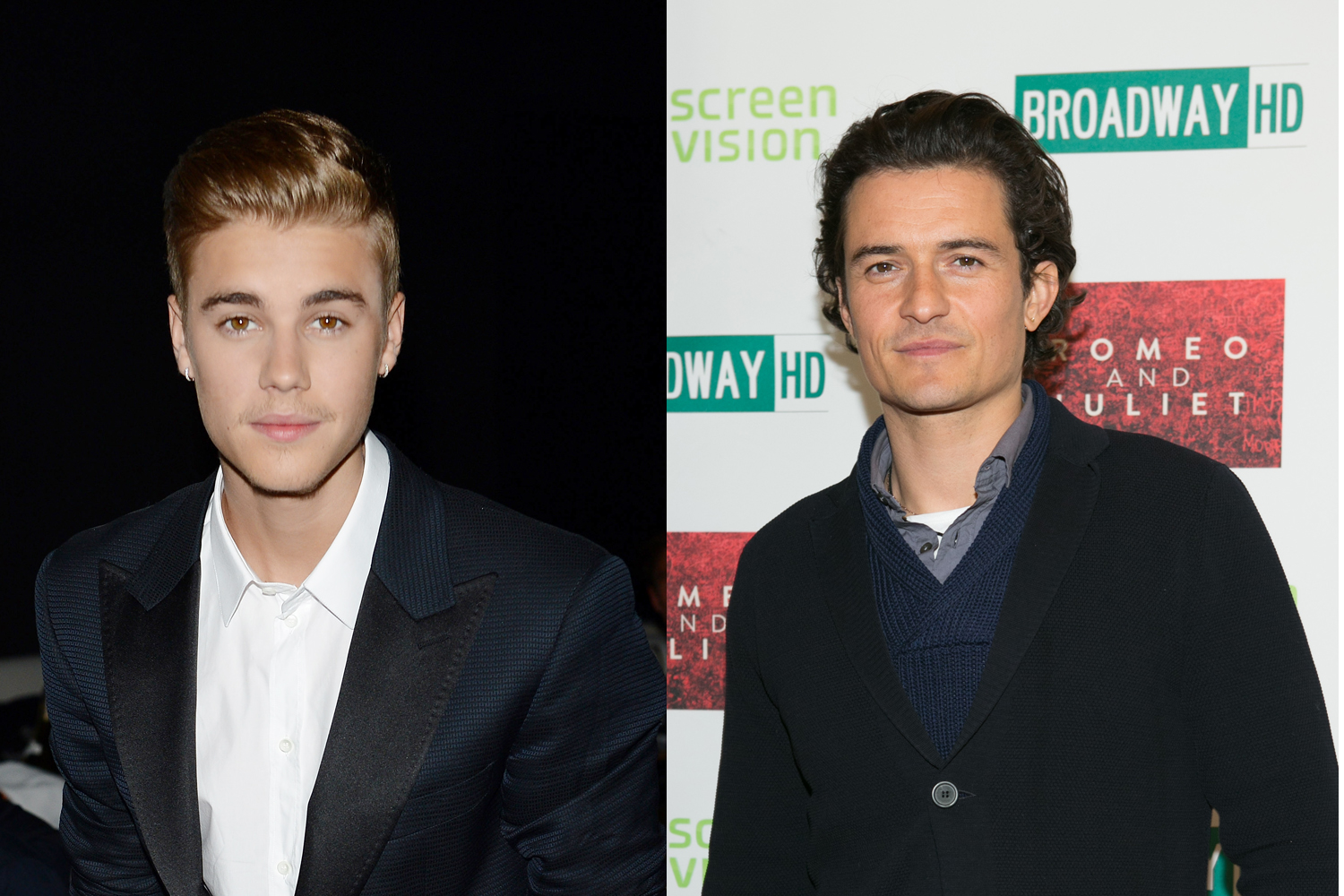 Justin Bieber (L) and Orlando Bloom (R)