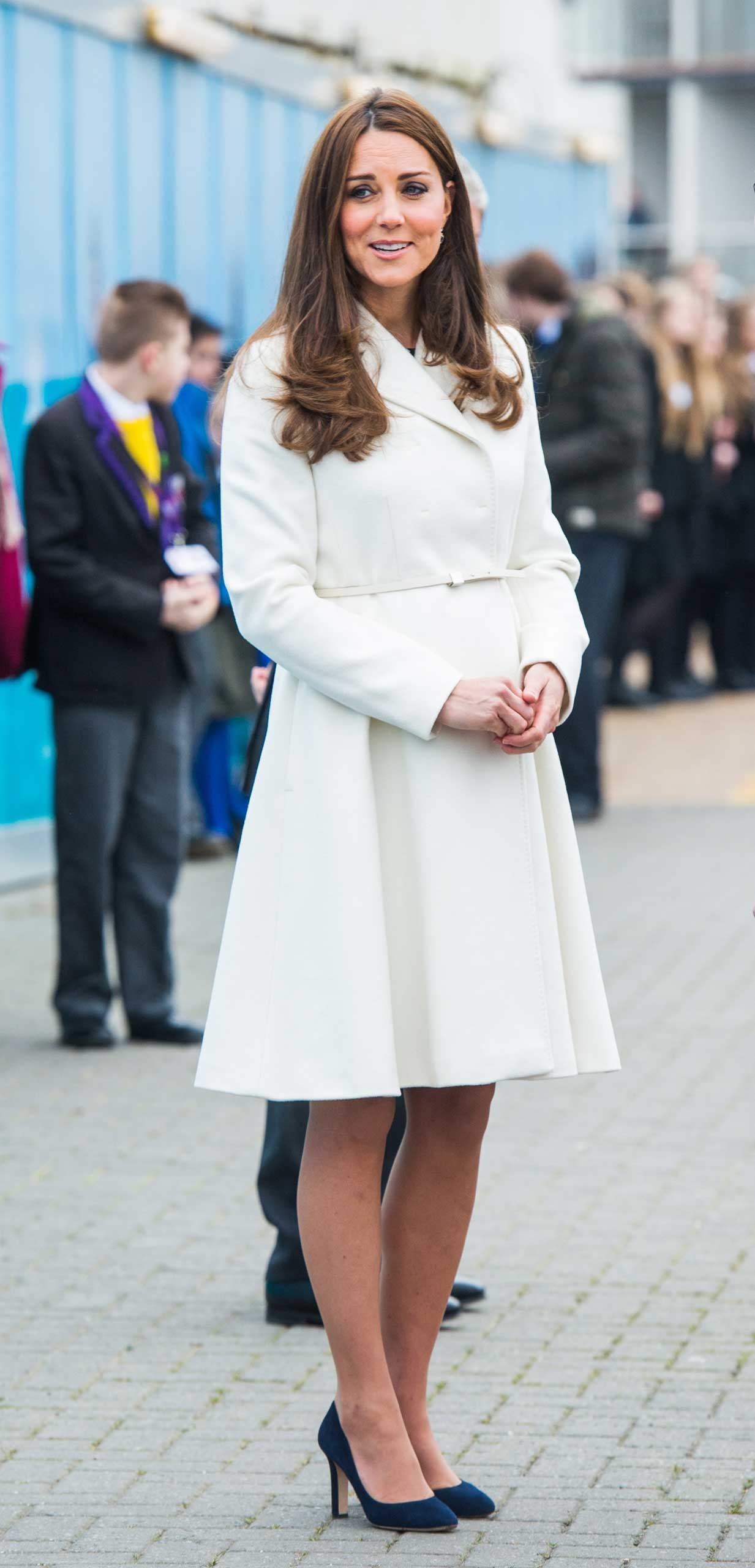 Catherine, Duchess of Cambridge  visits the new home of Ben Ainslie Racing and the 1851 Trust to view an art project by the local community on February 12, 2015 in Portsmouth, England.  (Photo by Samir Hussein/WireImage)
