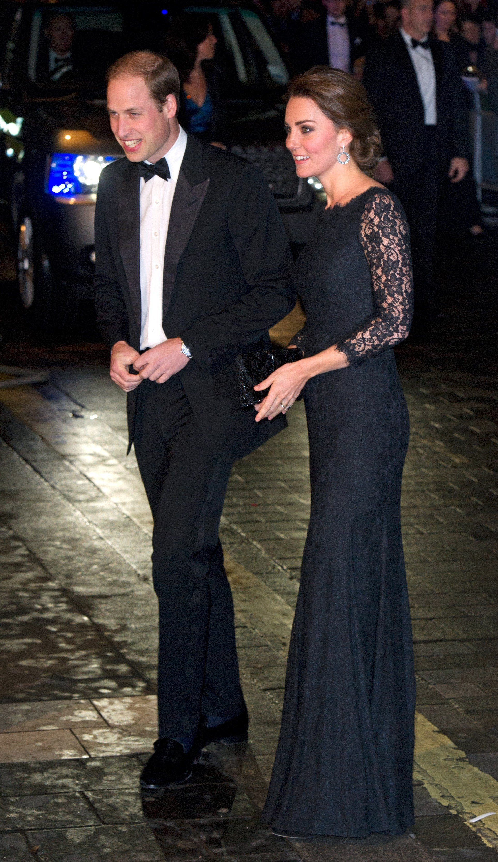 Catherine, Duchess of Cambridge and Prince William, Duke of Cambridge arrive at the Royal Variety Performance in London on Nov. 13, 2014.