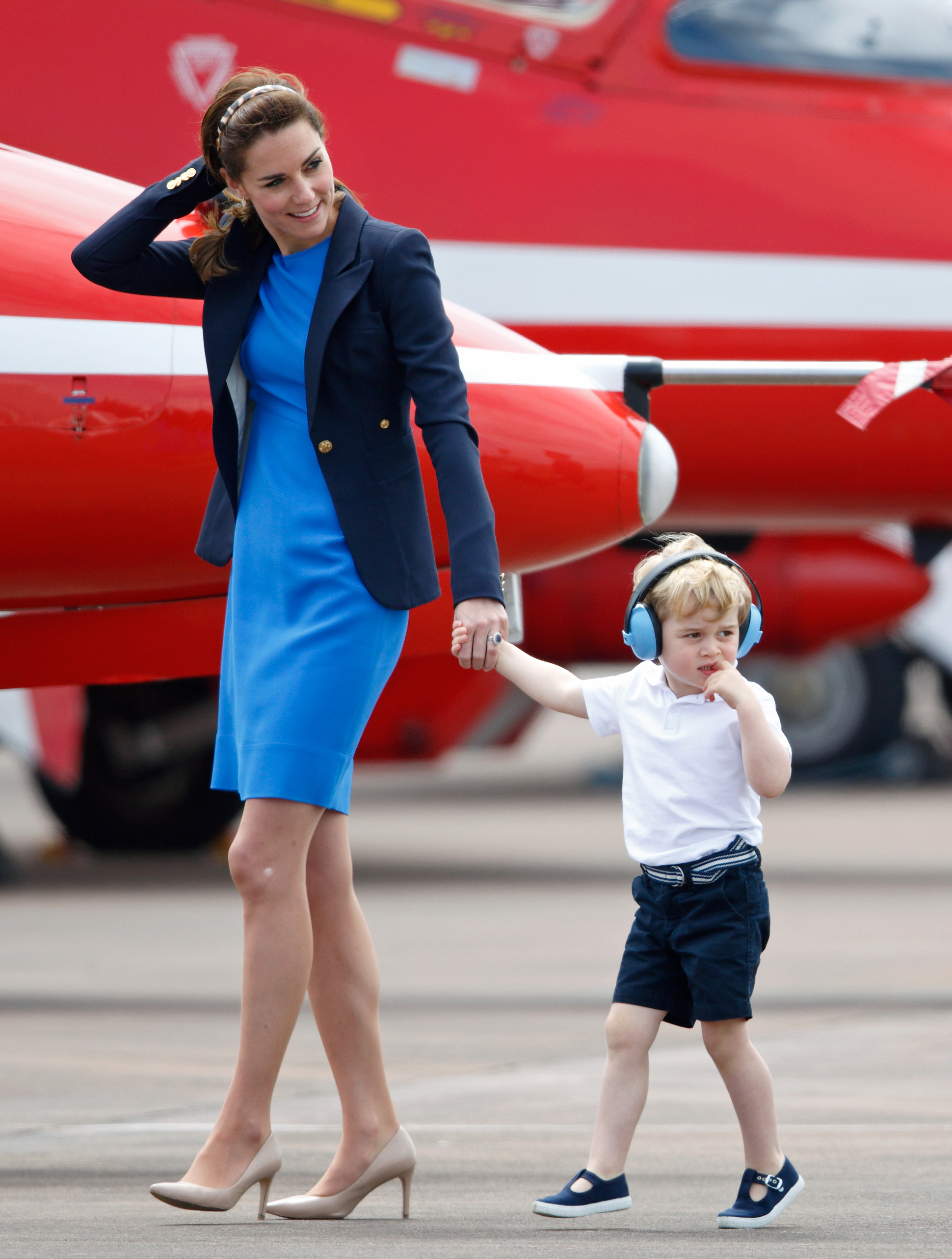 Catherine, Duchess of Cambridge and Prince George of Cambridge visit the Royal International Air Tattoo at RAF Fairford, England, on July 8, 2016.