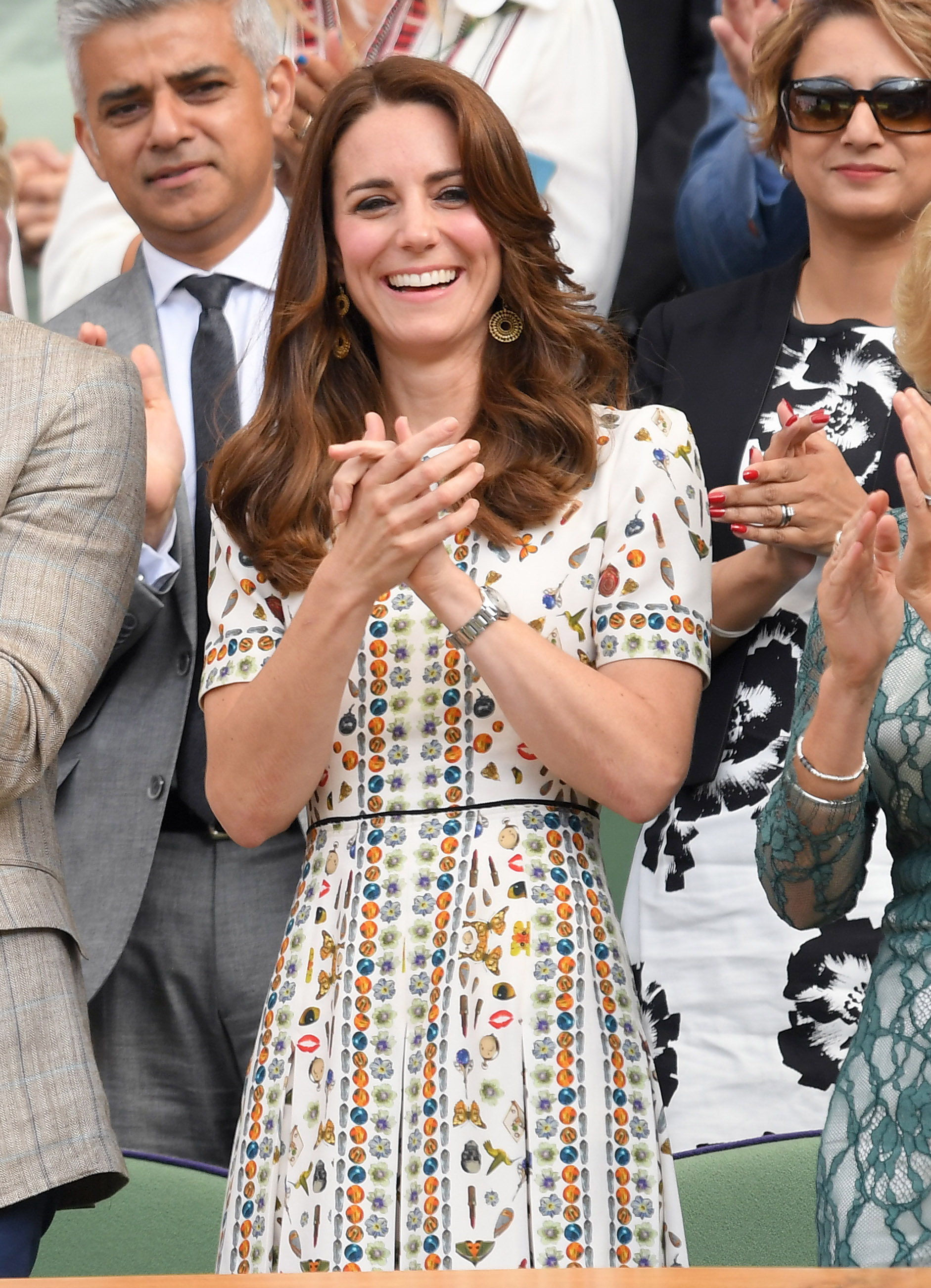 Catherine, Duchess of Cambridge attends the Men's Final of the Wimbledon Tennis Championships between Milos Raonic and Andy Murray at Wimbledon in London on July 10, 2016.