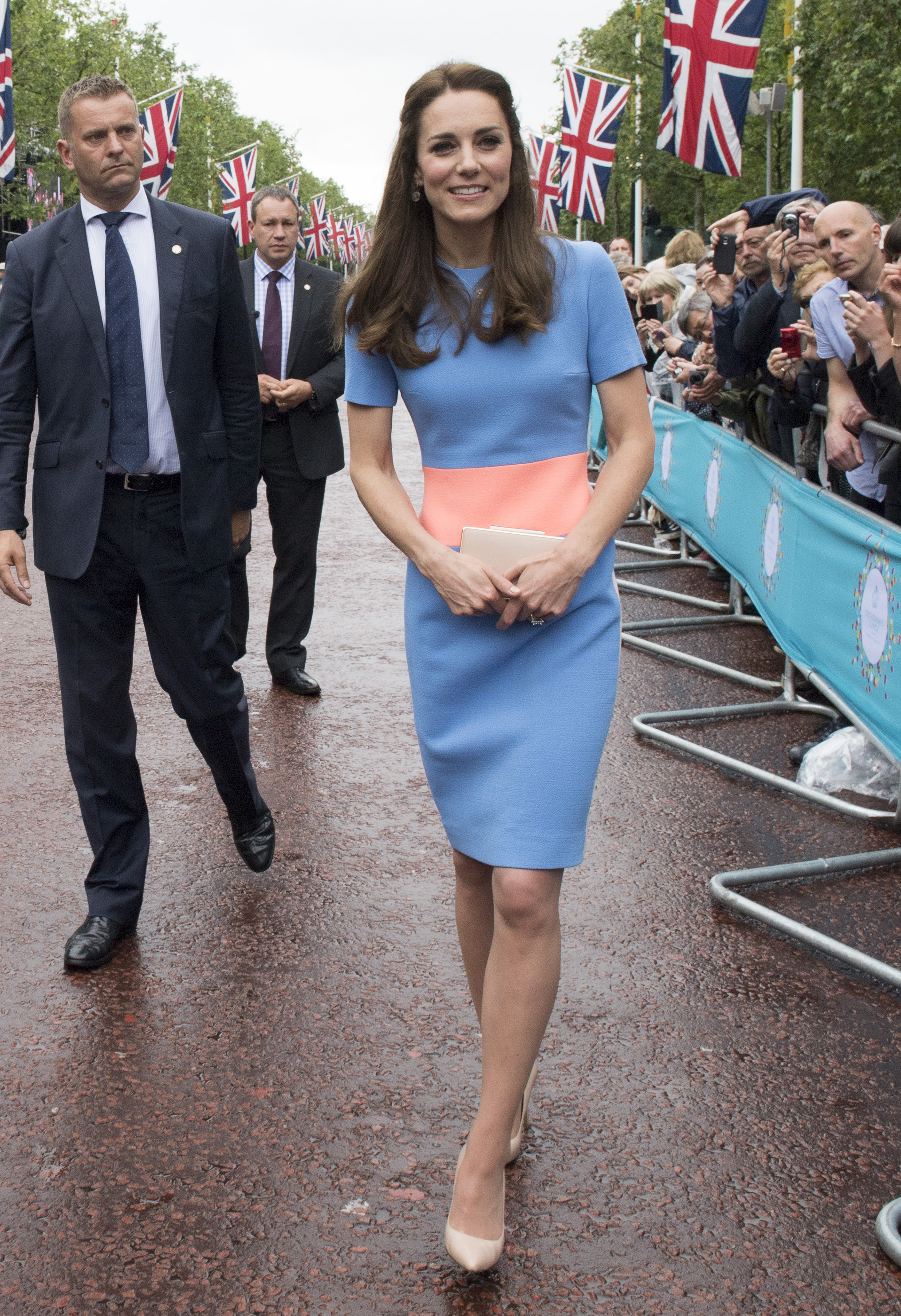 "Catherine, Duchess of Cambridge greets guests attending ""The Patron's Lunch"" celebrations for The Queen's 90th birthday on The Mall in London on June 12, 2016."