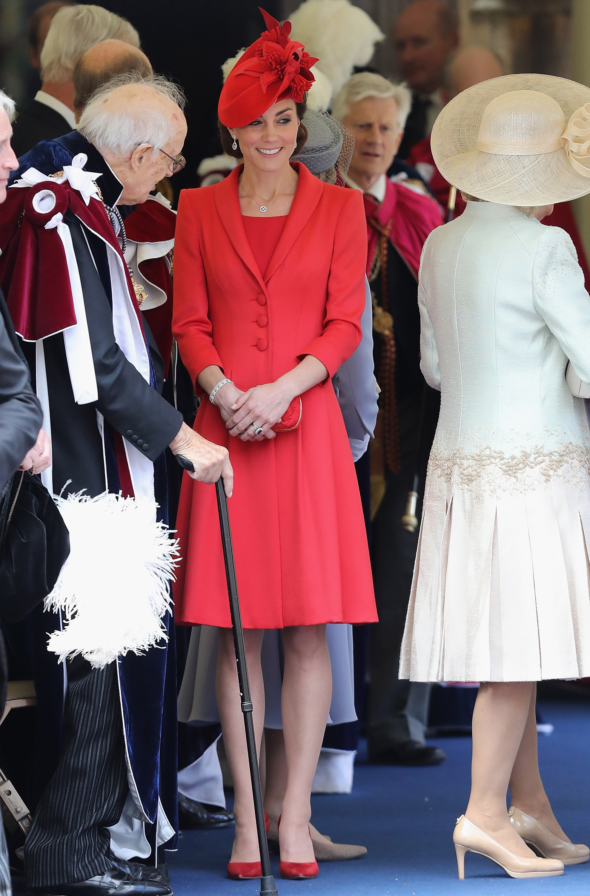 Catherine, Duchess of Cambridge, chats with guests after the Order of the Garter Service at Windsor Castle  in England on June 13, 2016.