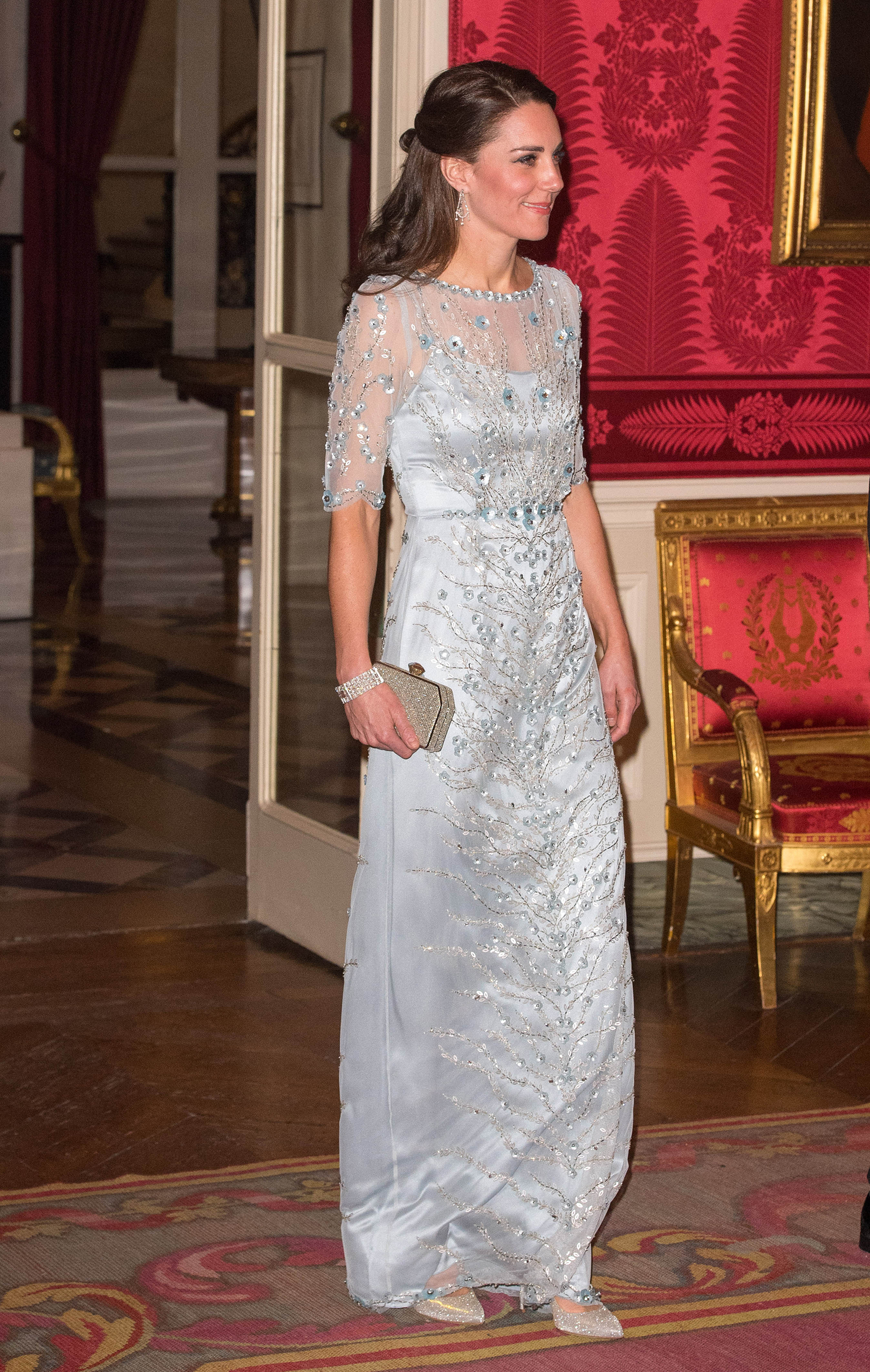 Catherine, Duchess of Cambridge, attends a dinner hosted by Her Majesty's Ambassador to France, Edward Llewellyn, at the British Embassy in Paris during a two-day visit on March 17, 2017.