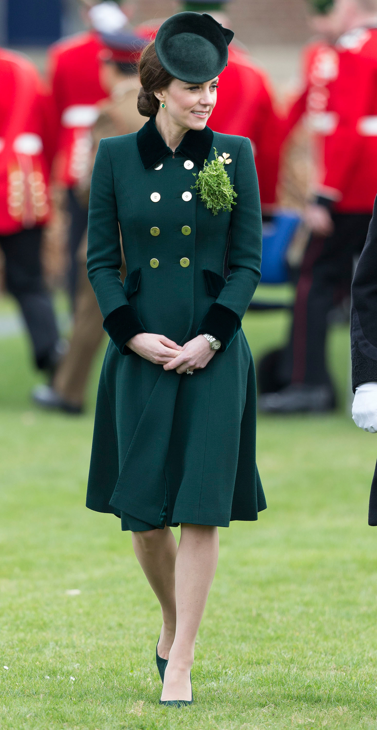 Catherine, Duchess of Cambridge, attends the annual Irish Guards St Patrick's Day Parade at Household Cavalry Barracks in London on March 17, 2017.