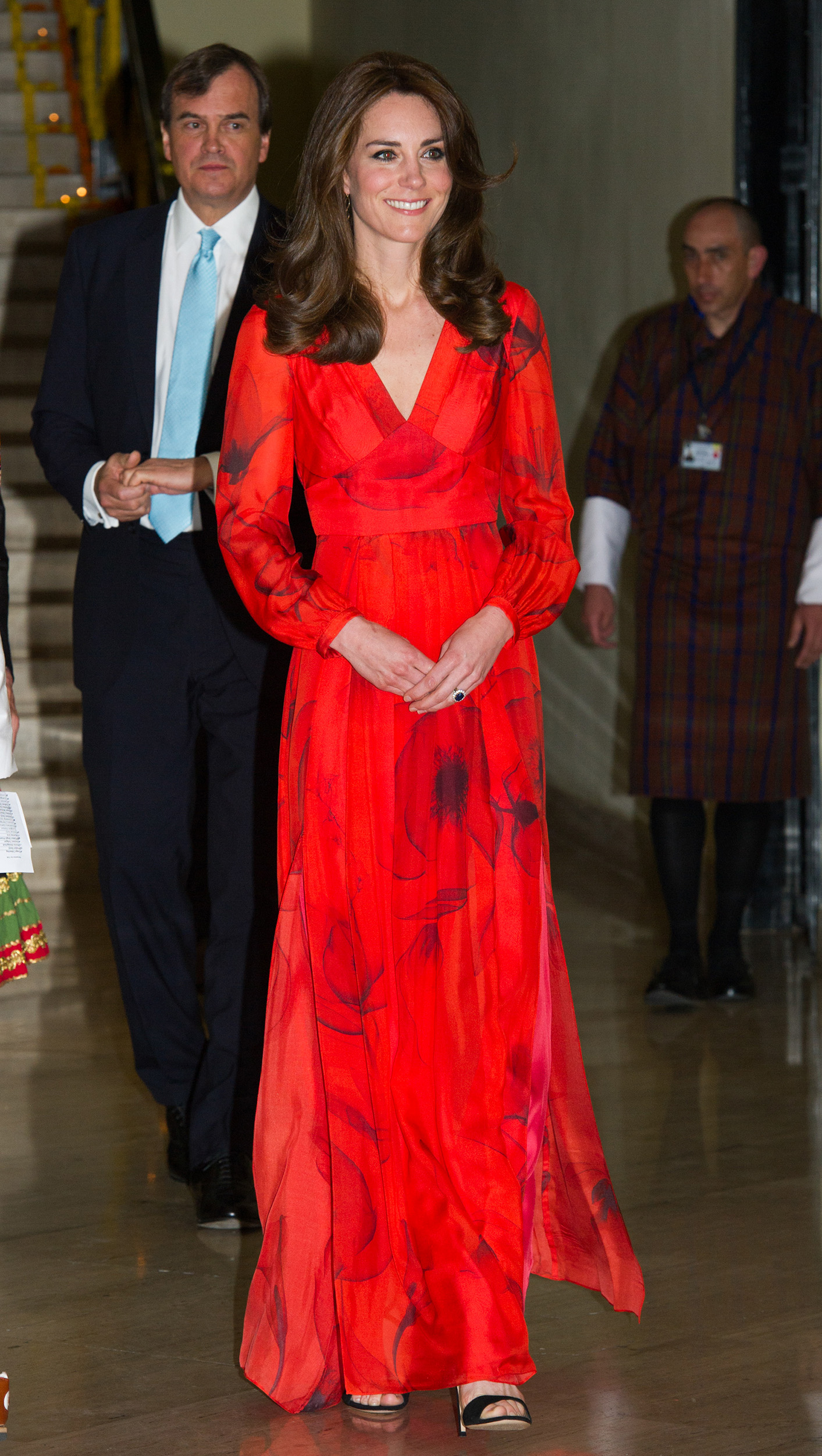 Catherine, Duchess of Cambridge attends a reception for British nationals in Bhutan and Bhutanese people with strong links to the UK on April 15, 2016.