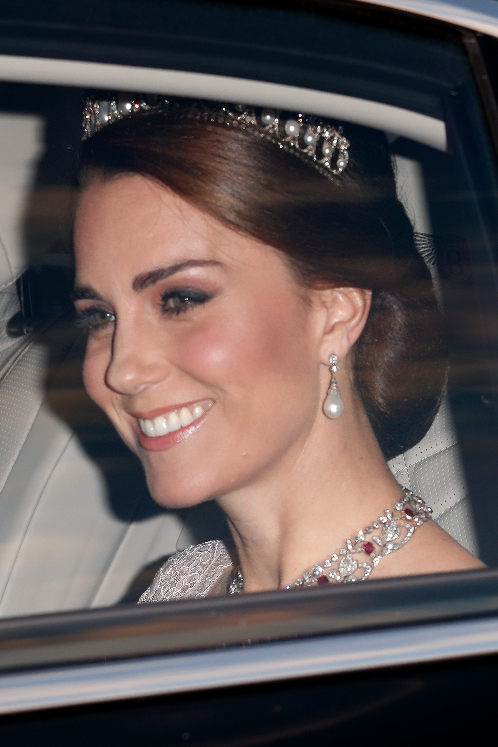 Catherine, Duchess of Cambridge, attends a State Banquet at Buckingham Palace on day 1 of the Spanish State Visit on July 12, 2017 in London.