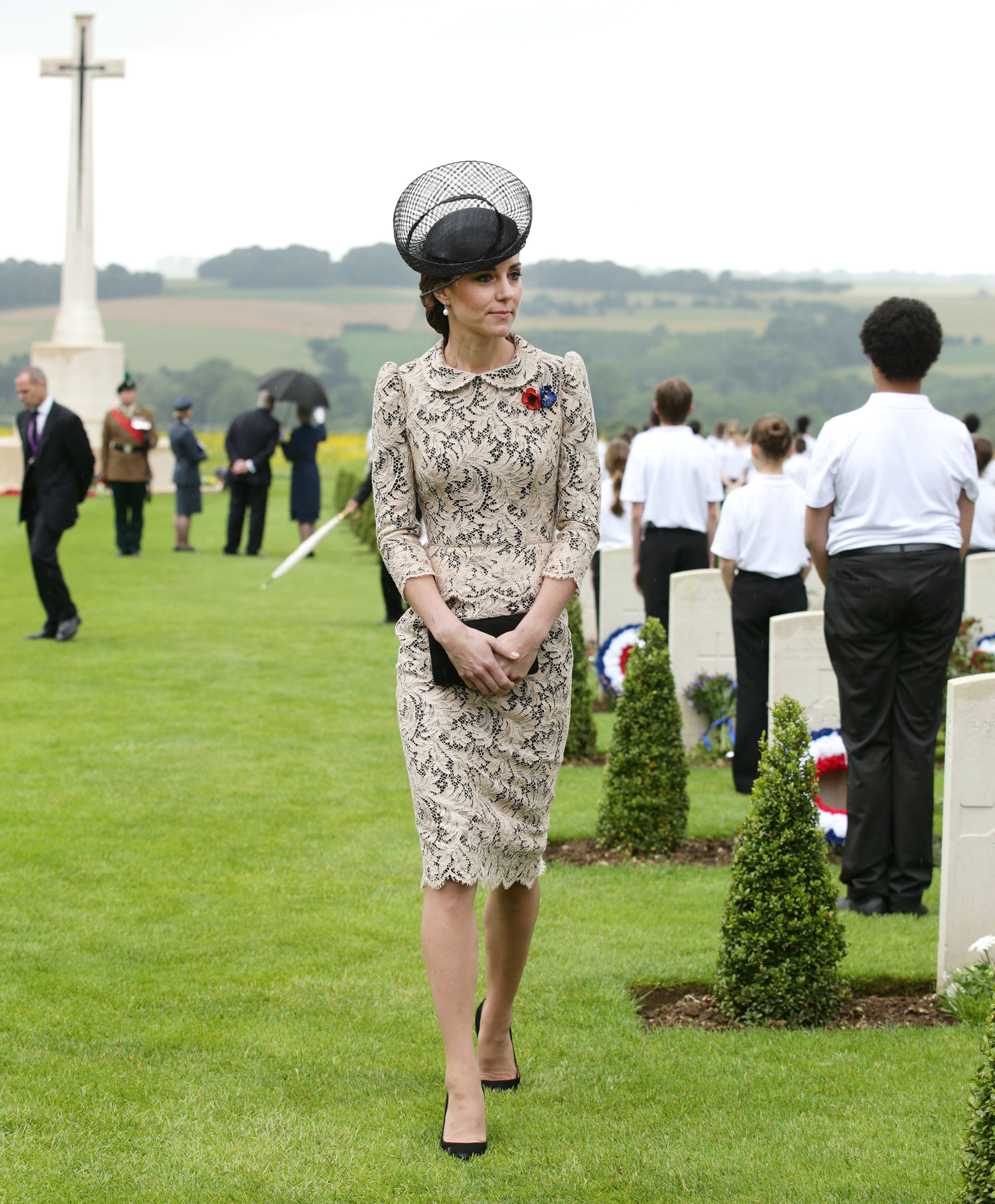 Catherine, Duchess of Cambridge, attends The Commemoration of the Centenary of The Battle of the Somme at The Commonwealth War Graves Commision Thiepval Memorial in Albert, France, on July 01, 2016.