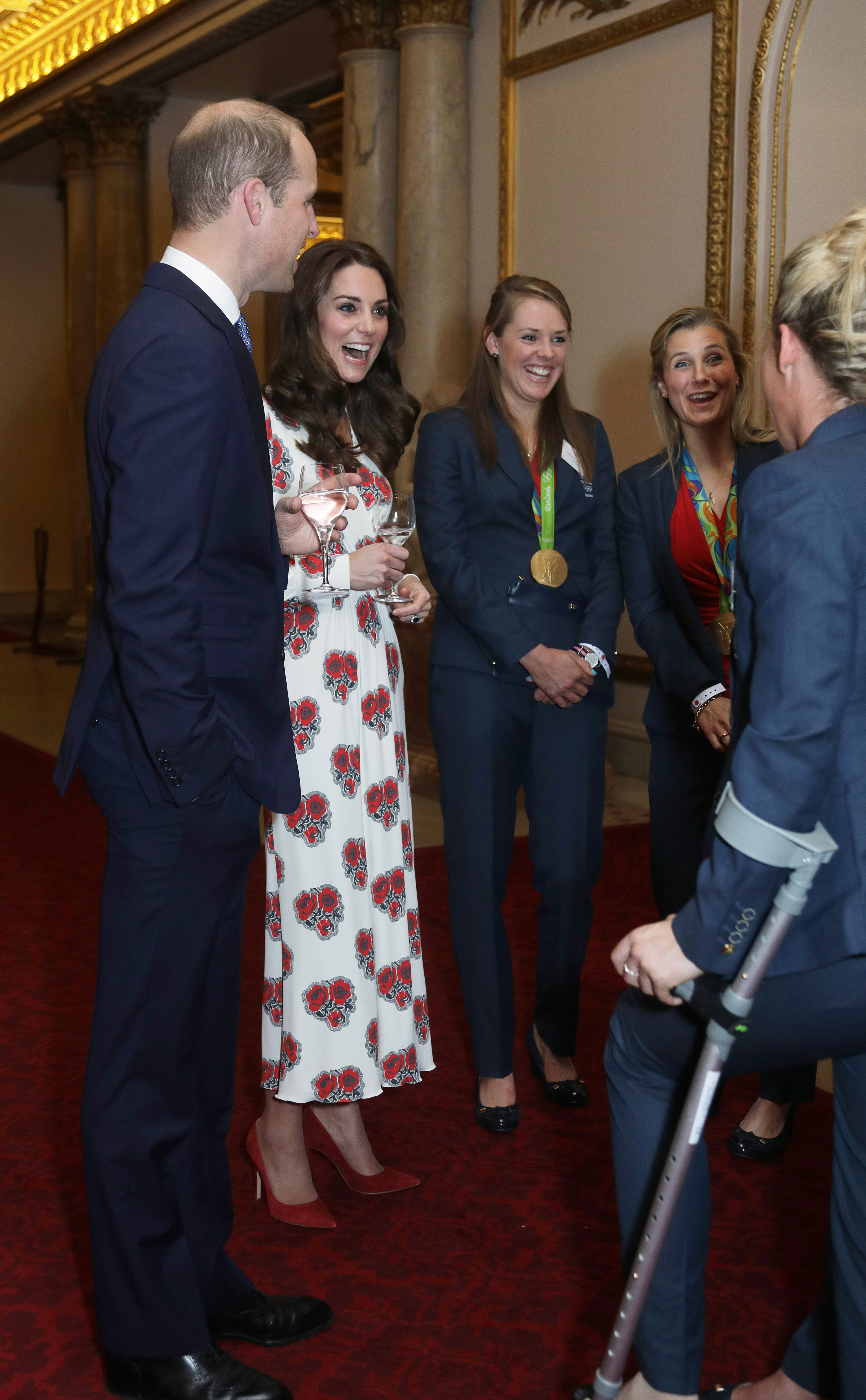 Prince William, Duke of Cambridge and Catherine, Duchess of Cambridge meet athletes at a reception for Team GB's 2016 Olympic and Paralympic teams hosted by Queen Elizabeth II at Buckingham Palace in London, England, on Oct. 18, 2016.
