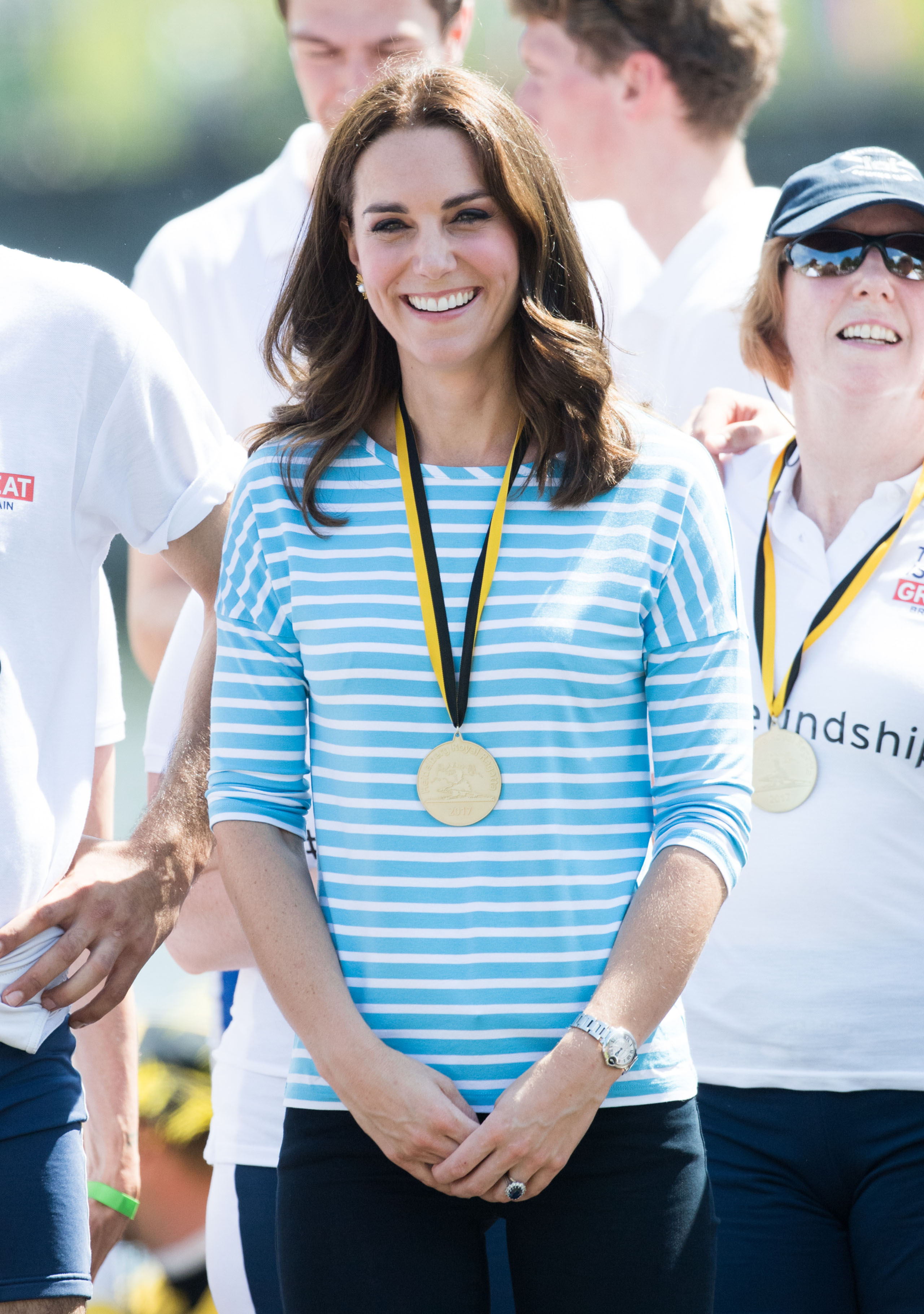 Catherine, Duchess of Cambridge after participating in a rowing race between the twinned town of Cambridge and Heidelberg during an official visit to Poland and Germany on July 20, 2017.
