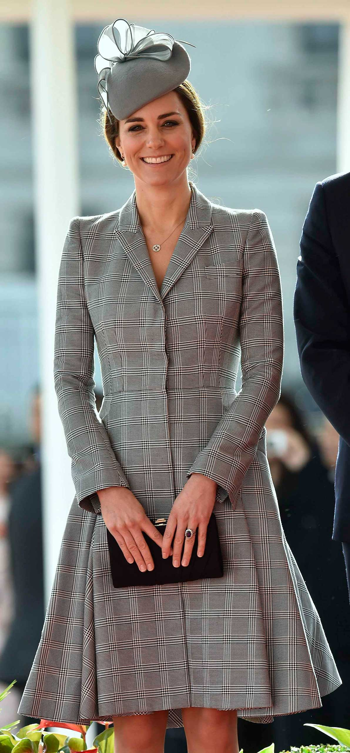 Catherine, Duchess of Cambridge smiles during a ceremonial welcome for the President of Singapore at Horse Guards Parade in London on Oct. 21, 2014.