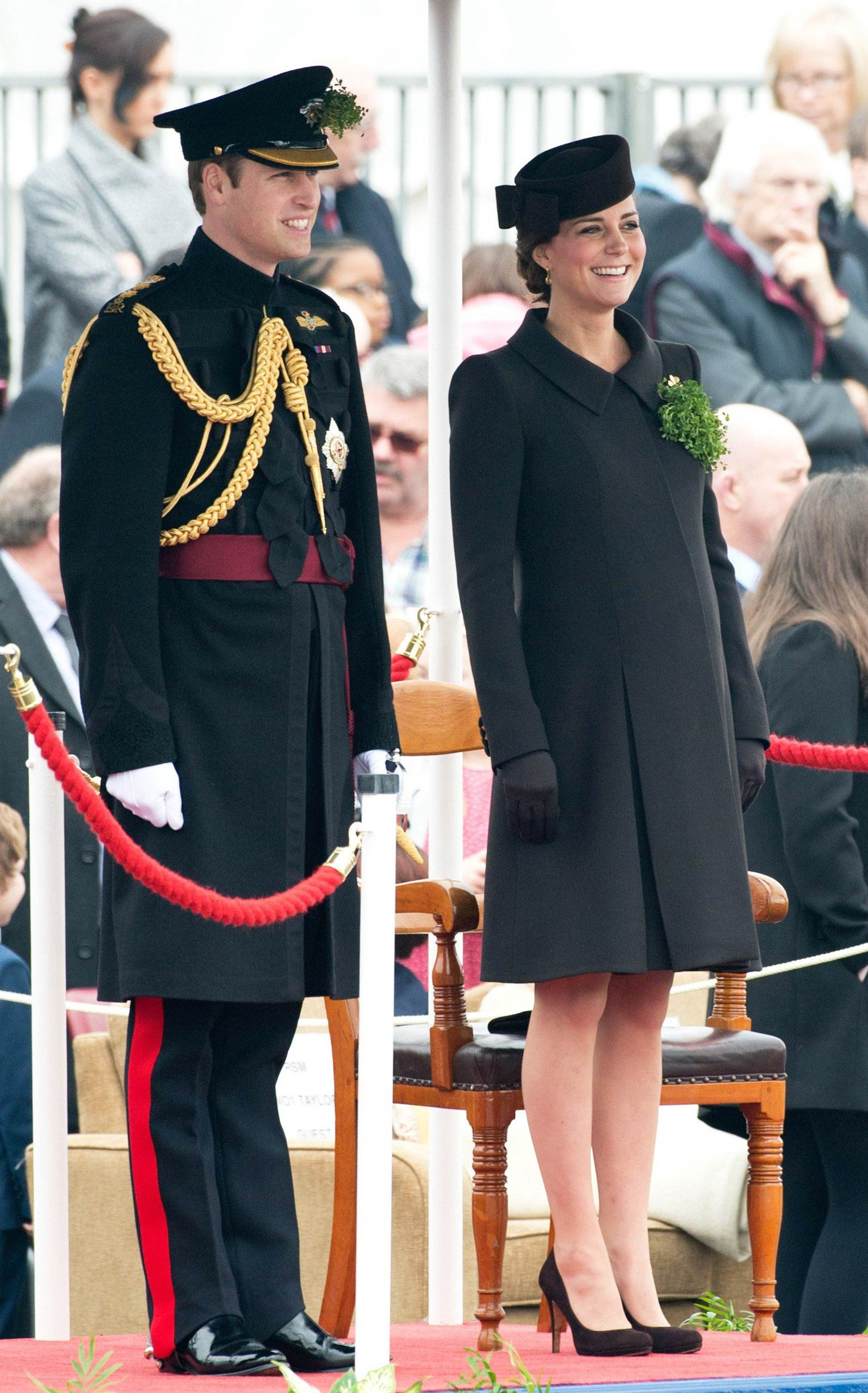 Prince William, Duke of Cambridge and Catherine, Duchess of Cambridge, wearing a bespoke Catherine Walker coat, attends the Irish Guards' St. Patrick's Day Parade at Mons Barracks in Aldershot, England on March 17, 2015.