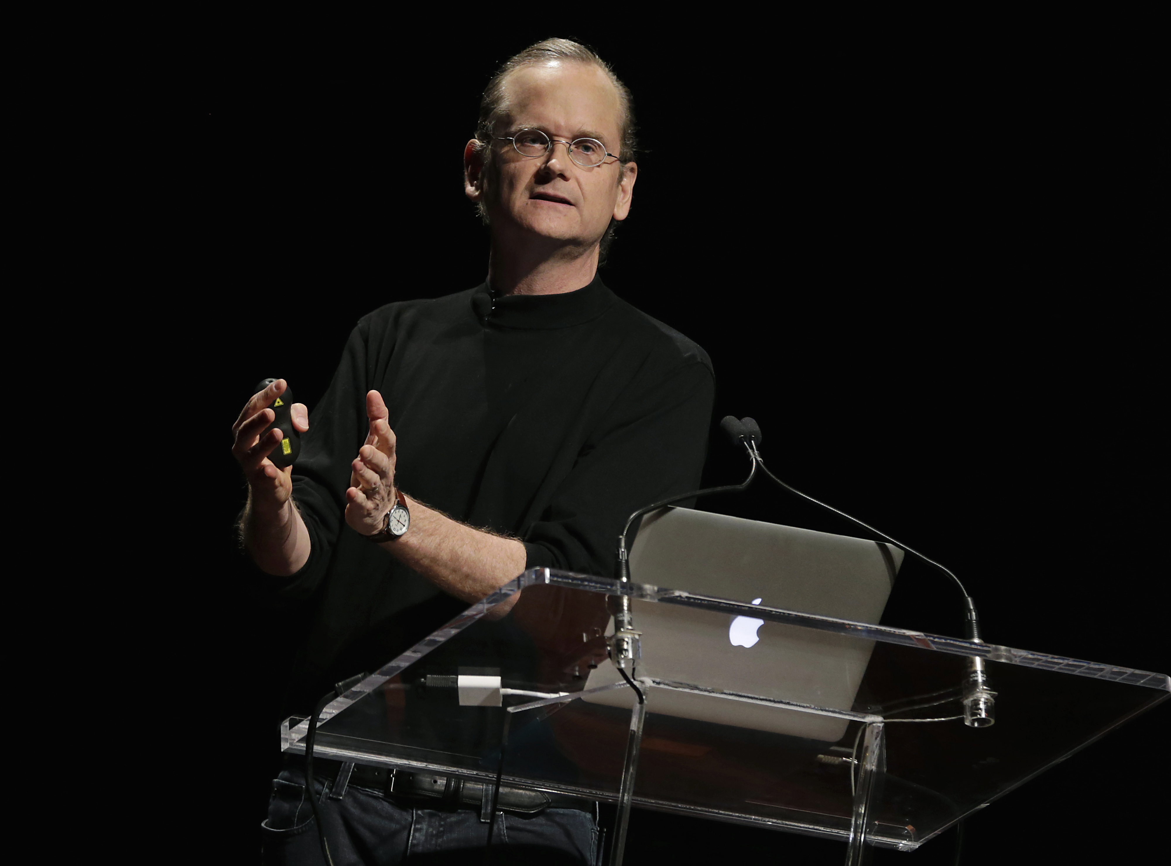 Lawrence Lessig, professor at Harvard Law School, speaks during the 2014 WIRED Business Conference (BizCon) in New York, U.S., on Tuesday, May 13, 2014.