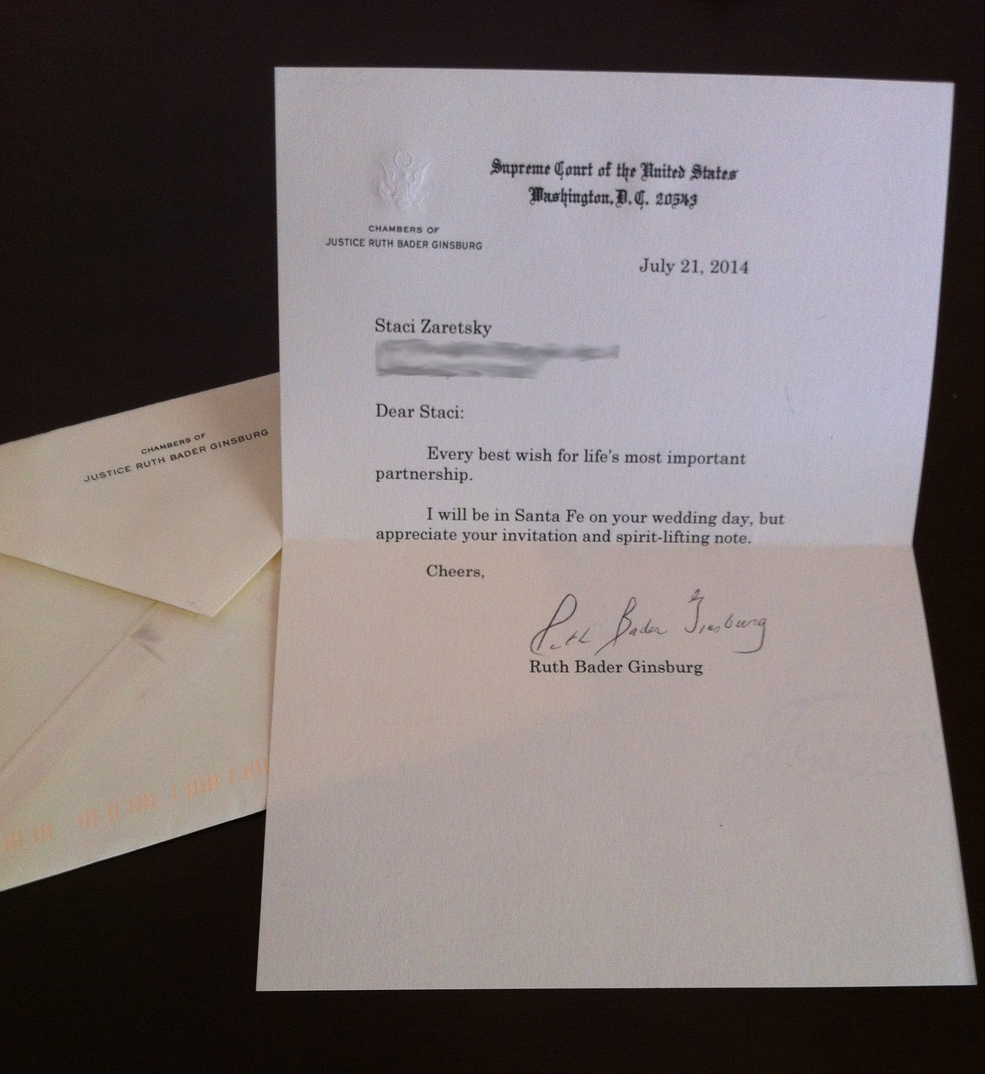 This is the letter Staci Zaretsky received from Justice Ruth Bader Ginsburg responding to Zaretsky's wedding invitation.