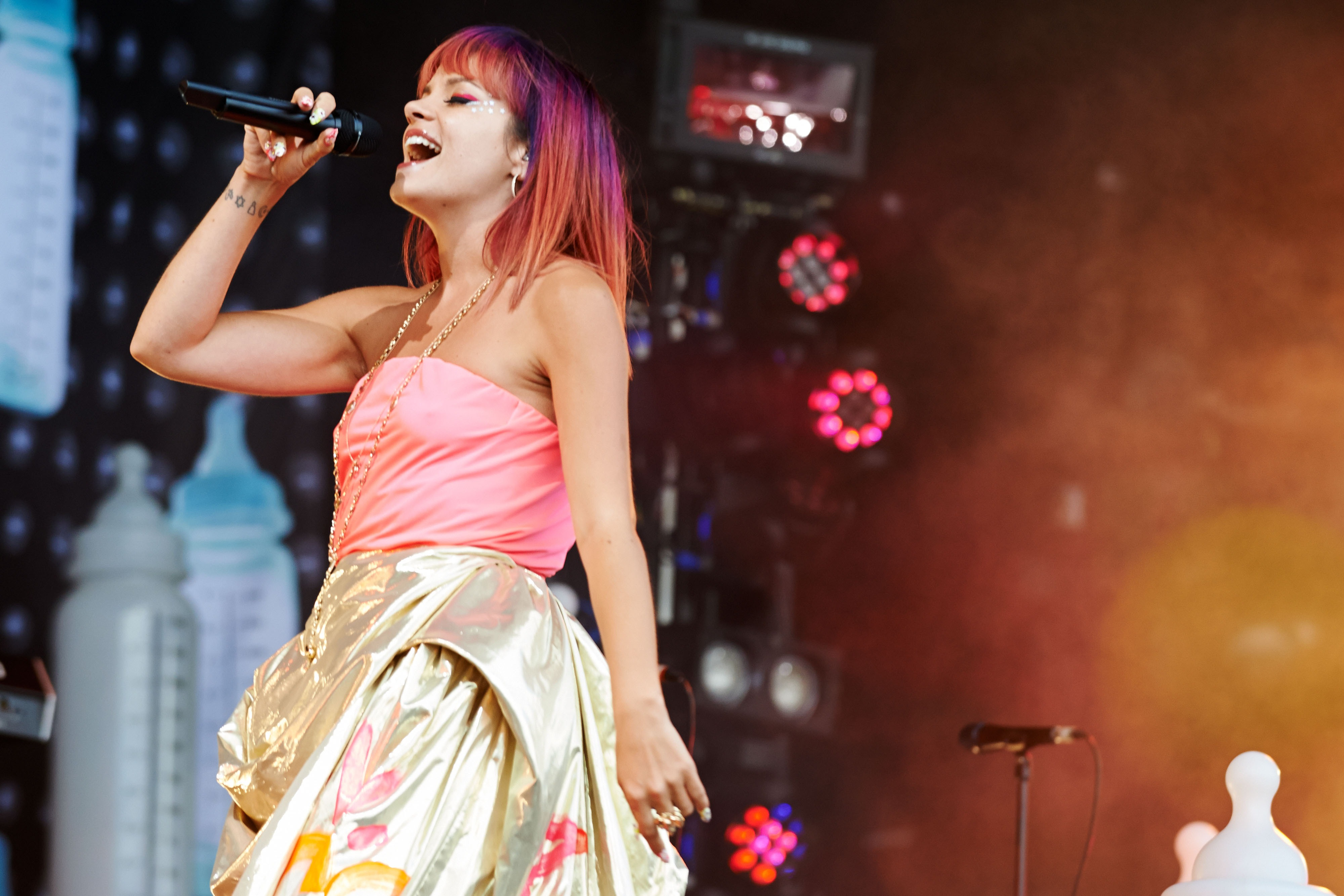 Lily Allen performs on Day 1 of the Glastonbury Festival at Worthy Farm on June 27, 2014 in Glastonbury, England.