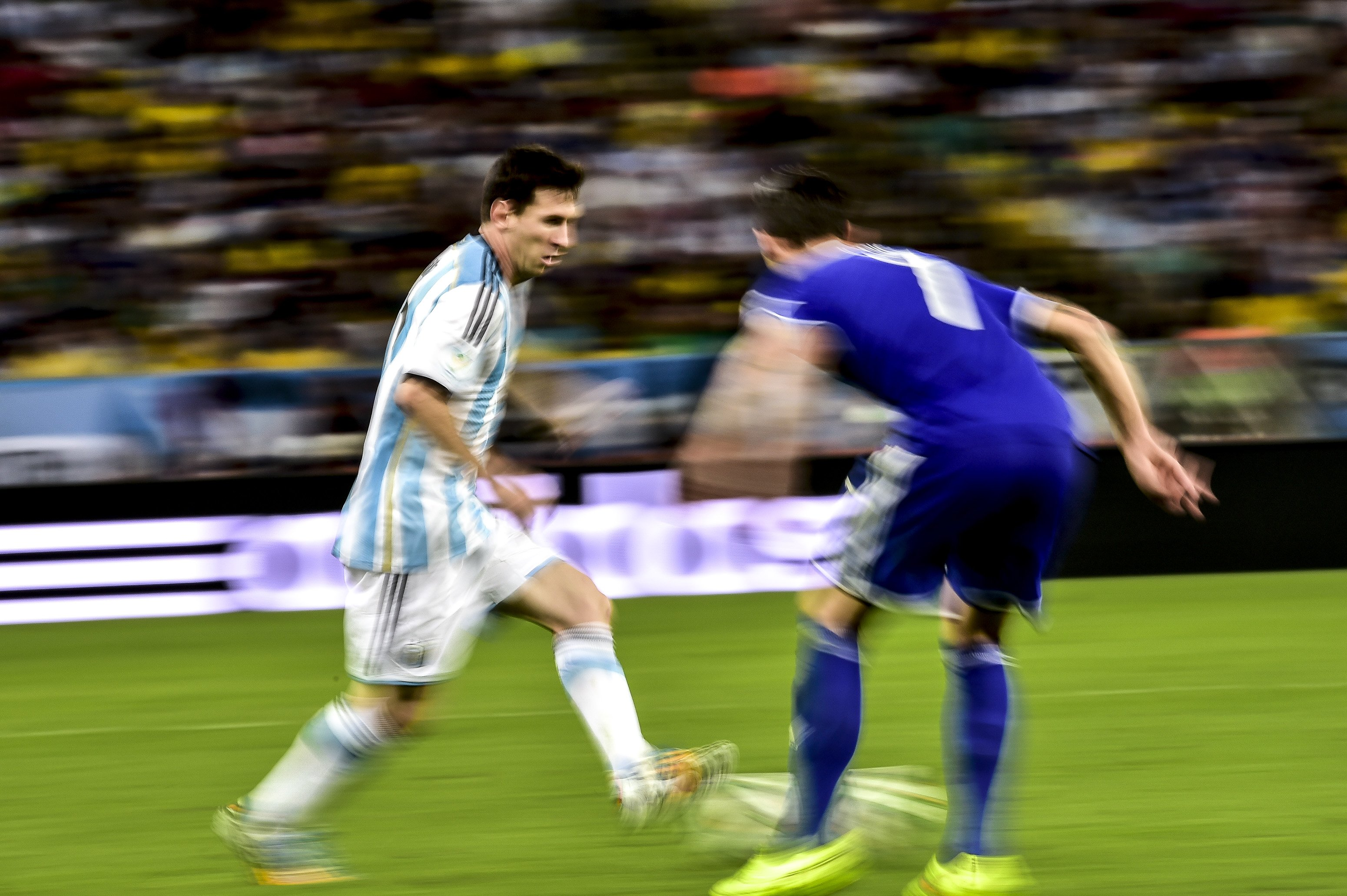 Lionel Messi during the 2014 World Cup match between Argentina and Bosnia-Herzegovina, on June 15th, 2014 in Rio de Janeiro, Brazil.