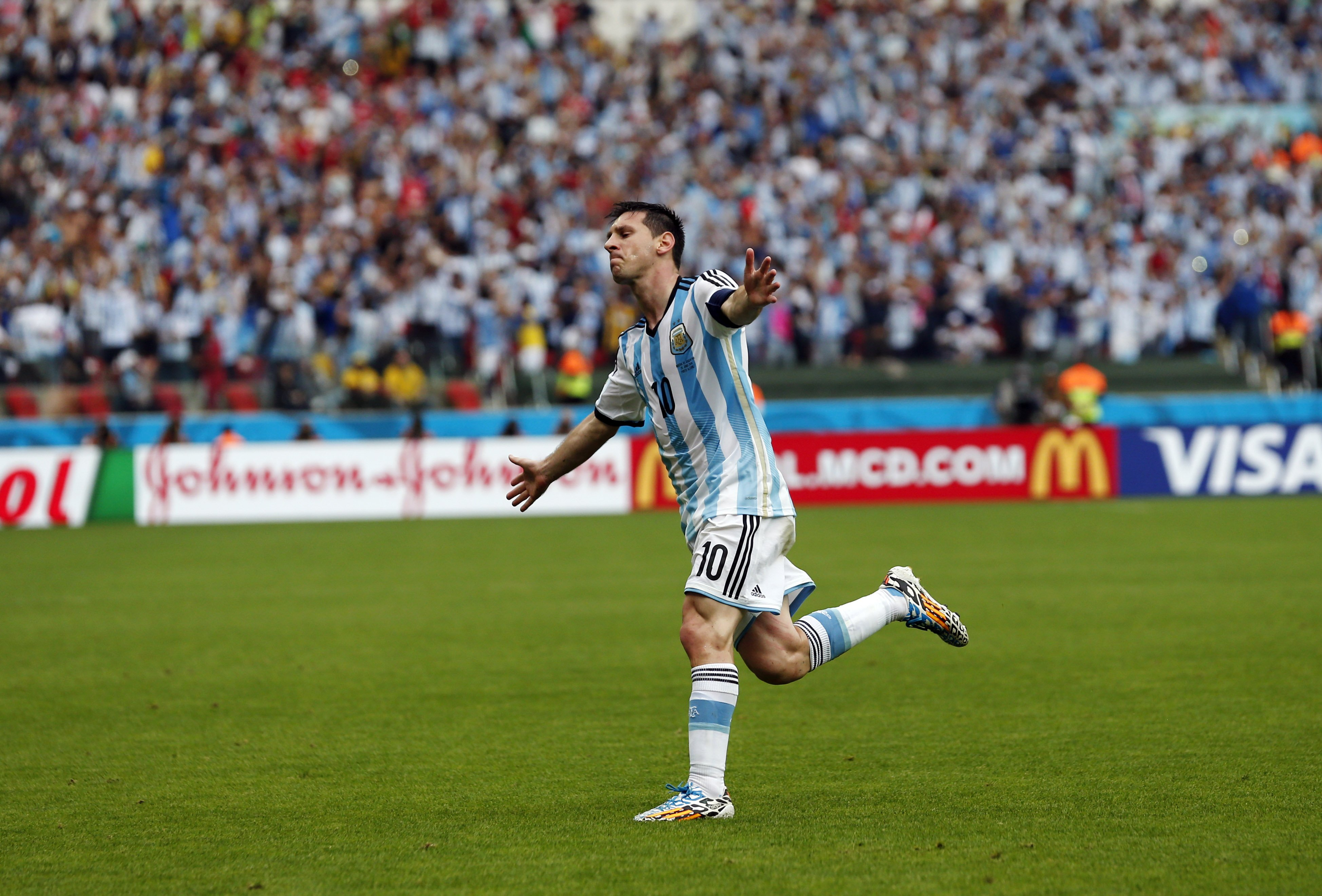 Argentina's Lionel Messi celebrates after scoring his side's second goal during the group F World Cup soccer match against Argentina at the Estadio Beira-Rio in Porto Alegre, Brazil, on June 25, 2014.