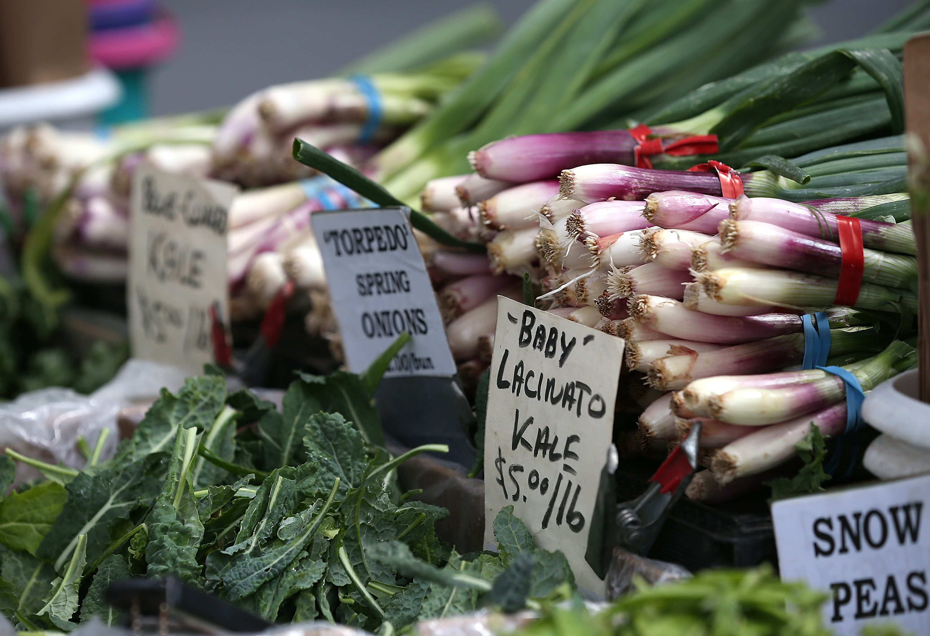 Fresh produce is displayed at the Ferry Plaza Farmers Market on March 27, 2014 in San Francisco.