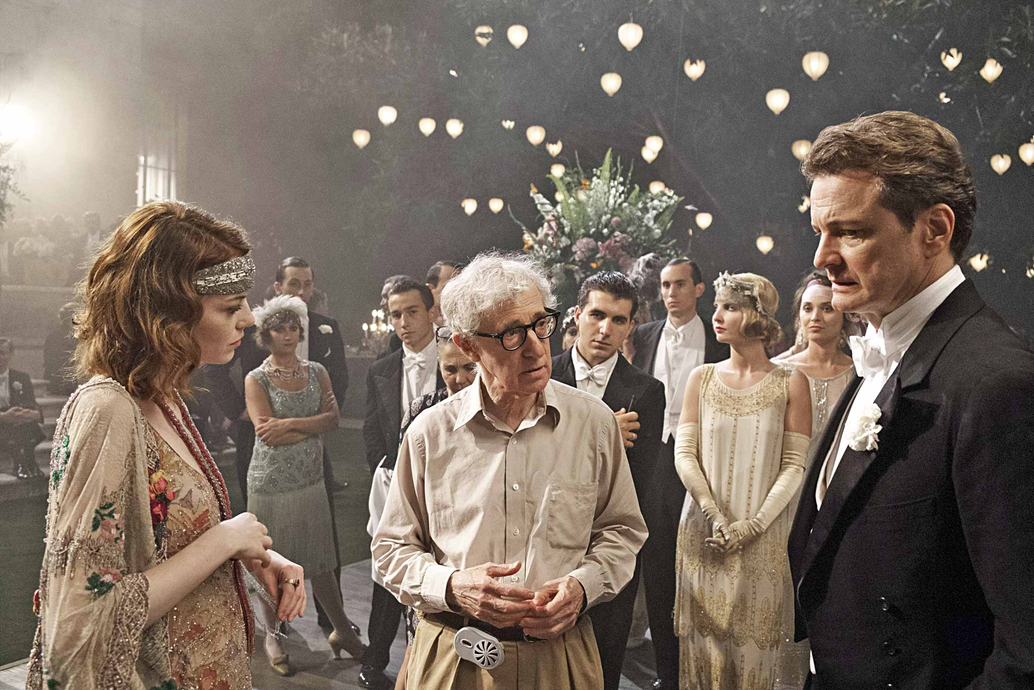 The conjurer and his lovely assistants: Allen on the Riviera set with stars Stone and Firth