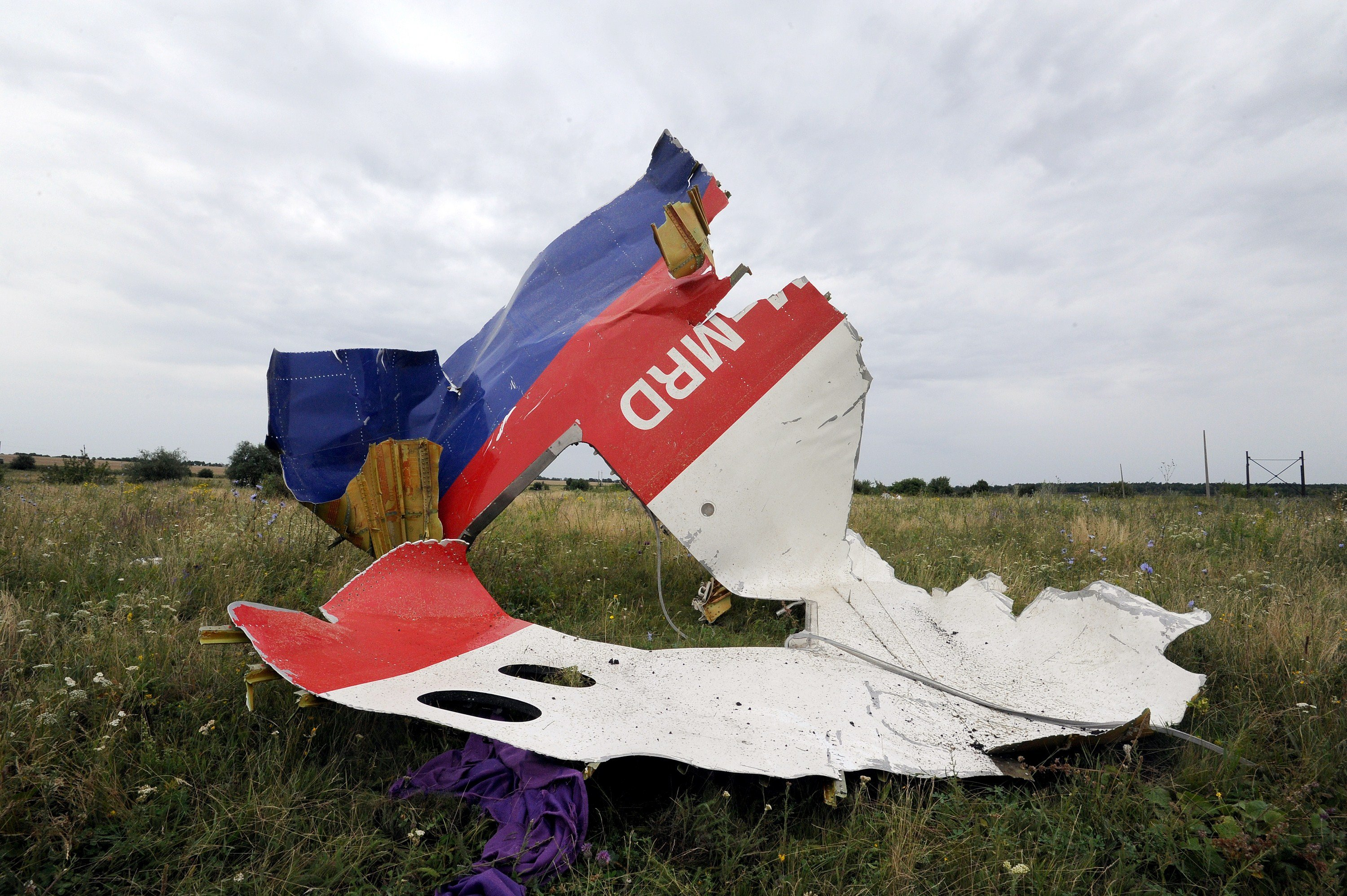 A piece of wreckage from the Malaysia Airlines flight MH17 is pictured on July 18, 2014 in Shaktarsk, Ukraine.