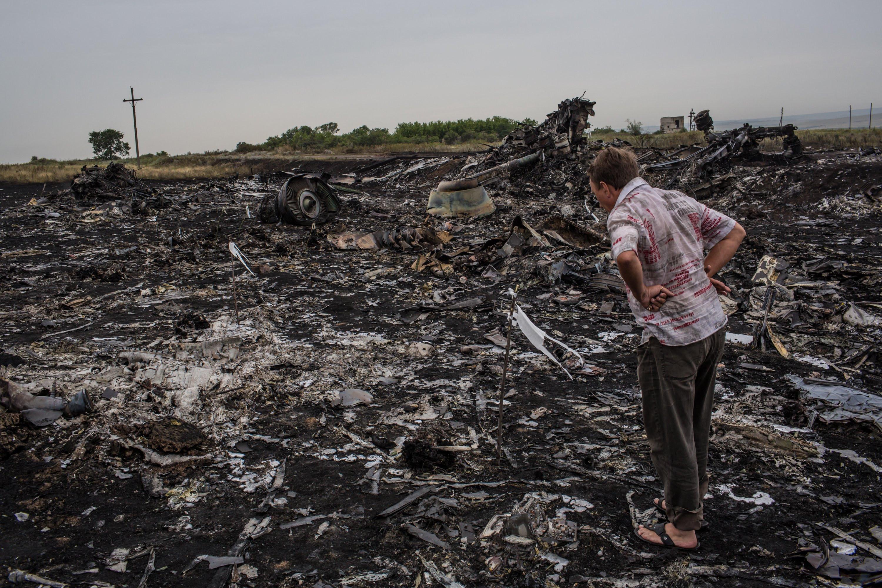 A man looks at debris from the Malaysia Airlines plane crash on July 18, 2014 in Grabovka, Ukraine.