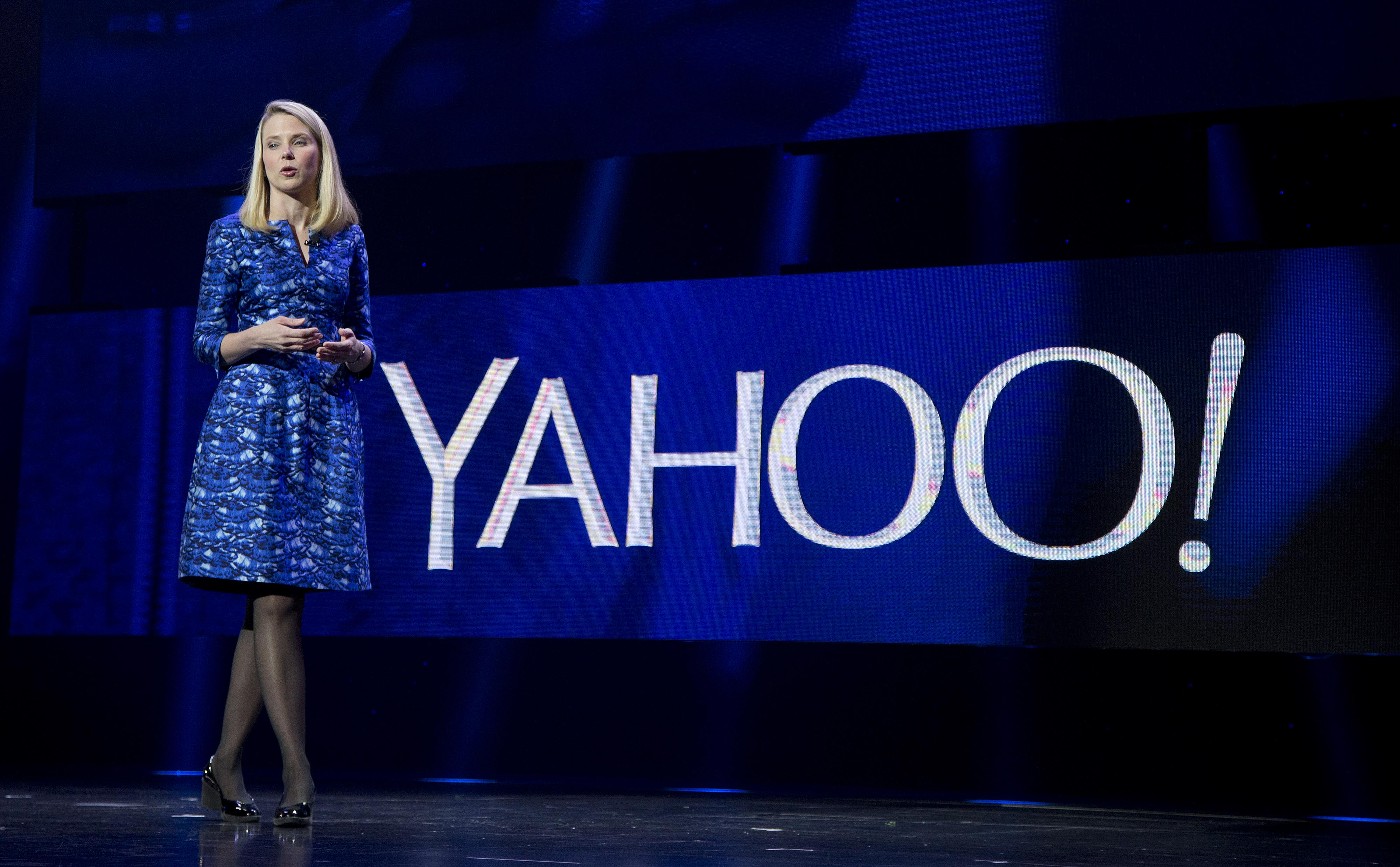 Yahoo president and CEO Marissa Mayer speaks during a keynote address at the International Consumer Electronics Show in Las Vegas on Jan. 7, 2014.