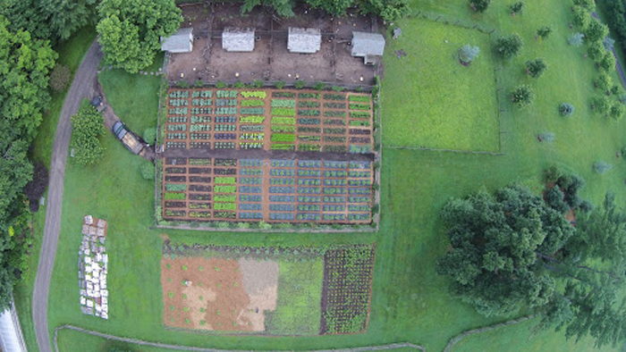An aerial photo of Martha Stewart's farm in Bedford, New York, taken with her drone.