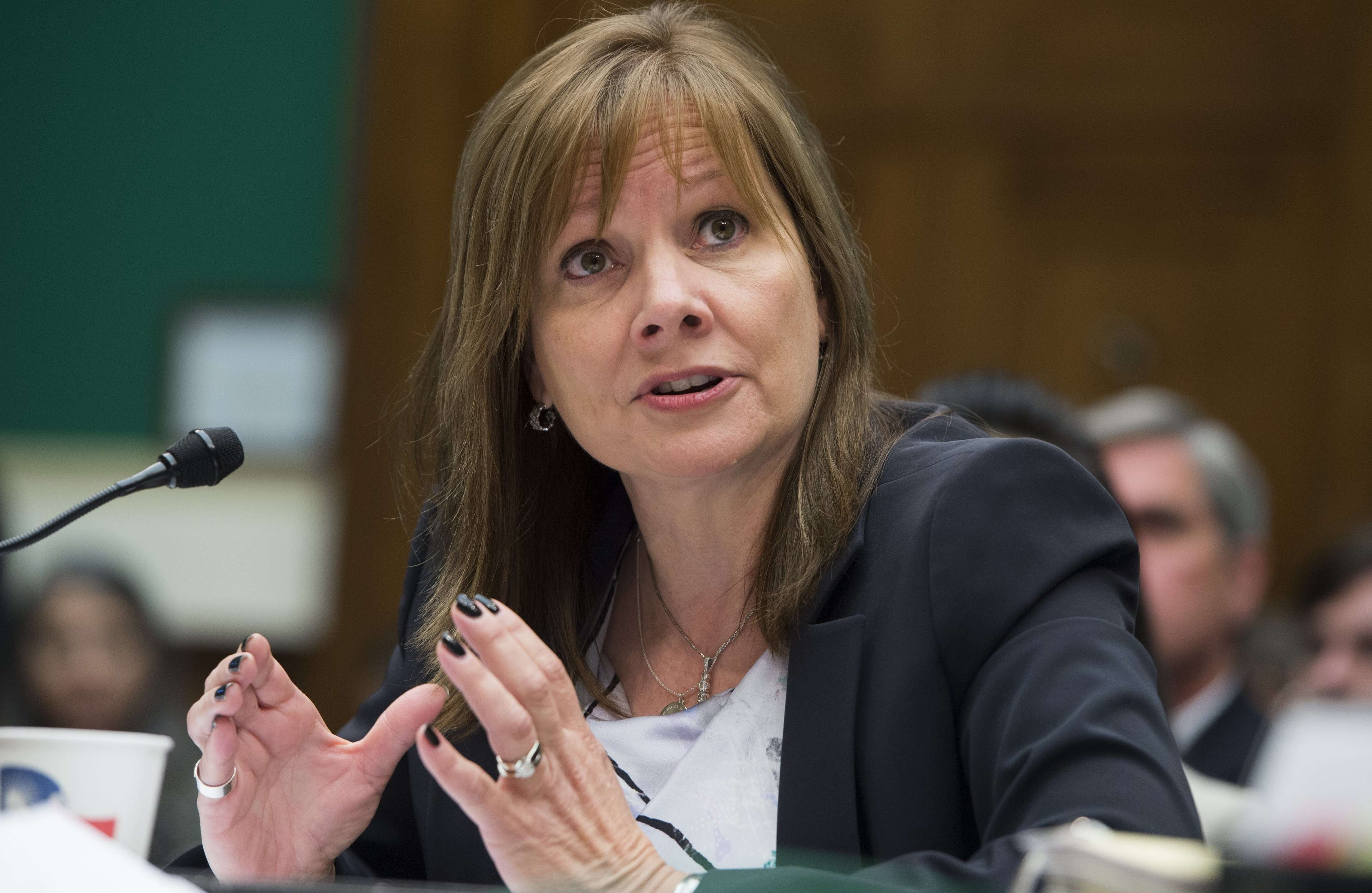 General Motors CEO Mary Barra testifies on the GM ignition switch recall during a US House Oversight and Investigations Subcommittee hearing on Capitol Hill in Washington, DC, on June 18, 2014.