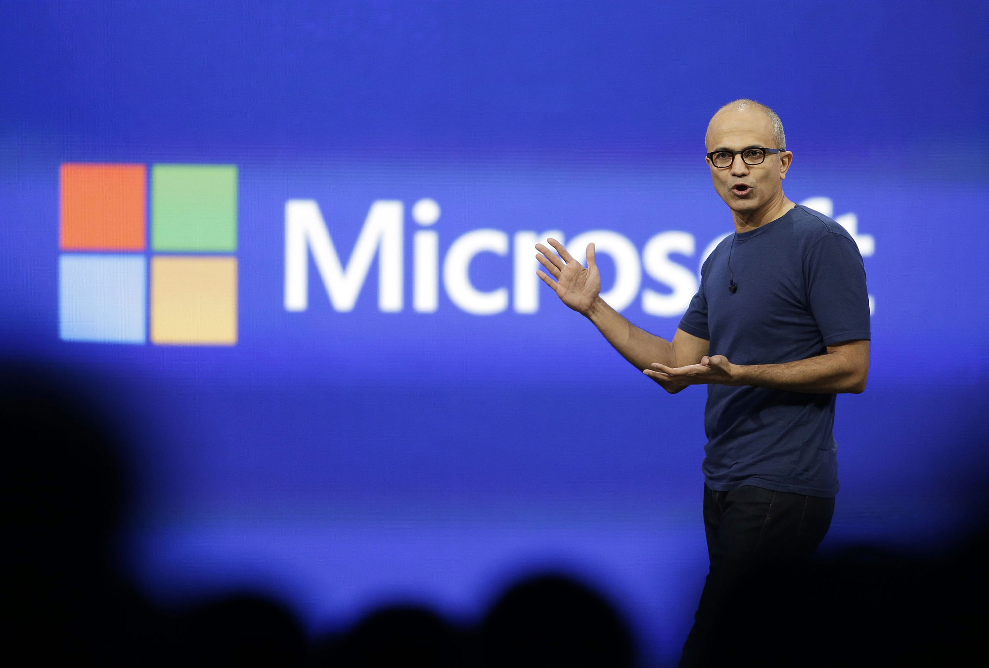 Microsoft CEO Satya Nadella gestures during the keynote address of the Build Conference in San Francisco, April 2, 2014