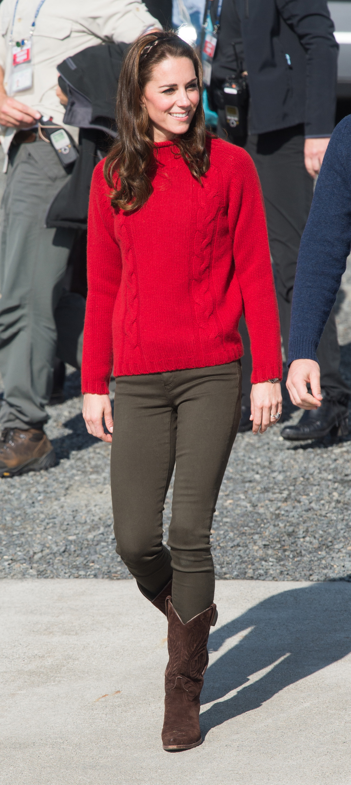 Catherine, Duchess of Cambridge, arrives for a fishing boat trip in Haida Gwaii, Canada, on Sept. 30, 2016.