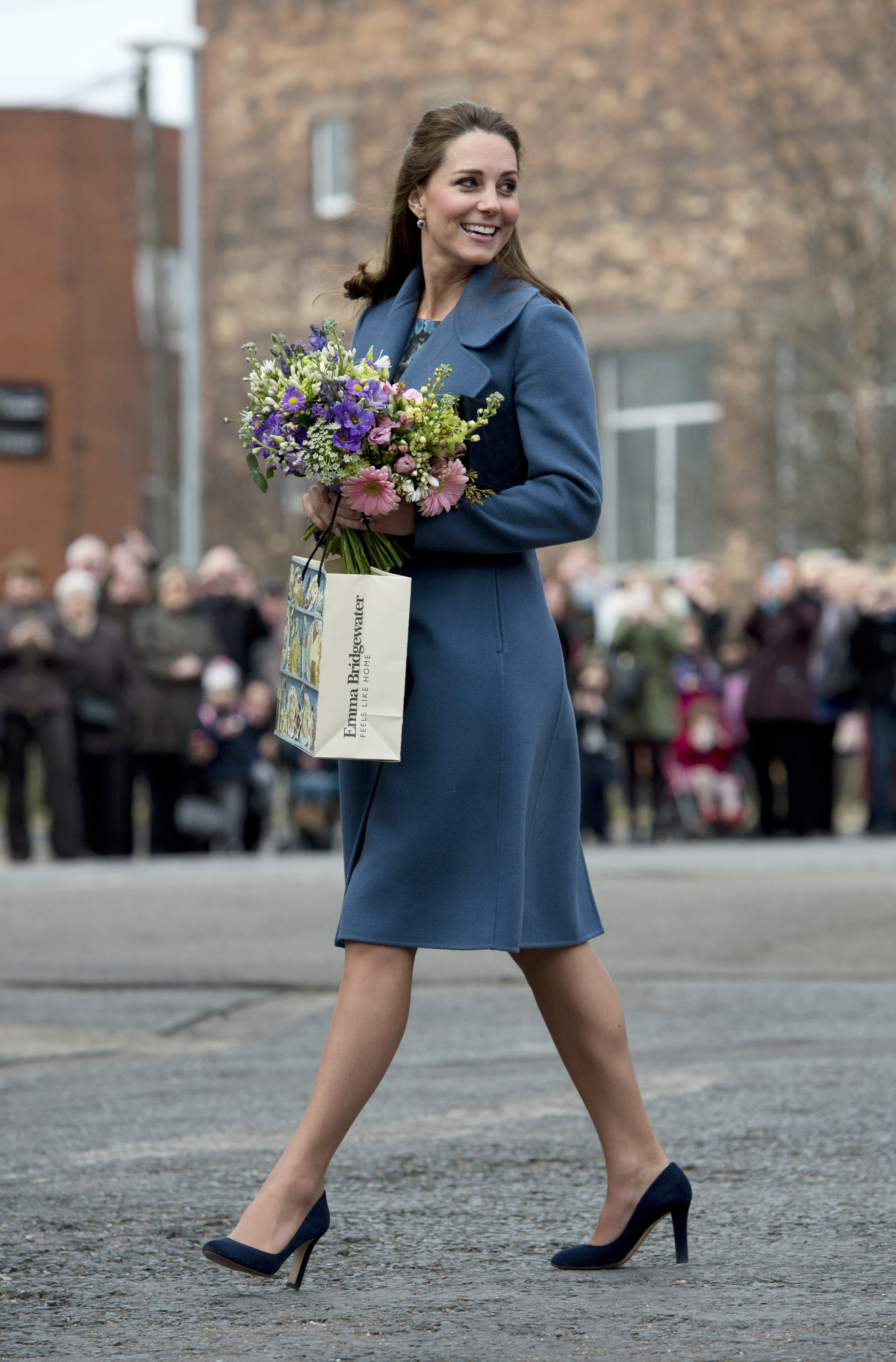Catherine, Duchess of Cambridge during a visit to the 'Emma Bridgewater' pottery factory on Feb. 18, 2015 in Staffordshire, England.