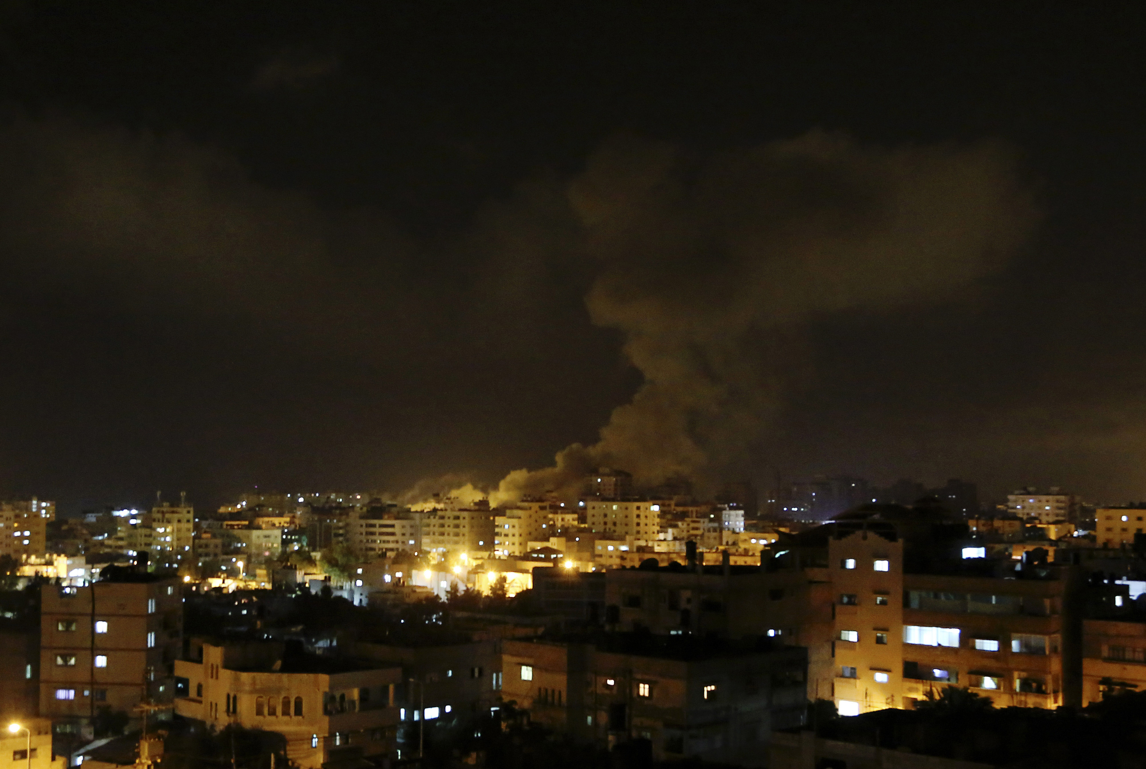 Smoke rises after an Israeli missile strike hits Gaza City on July 3, 2014