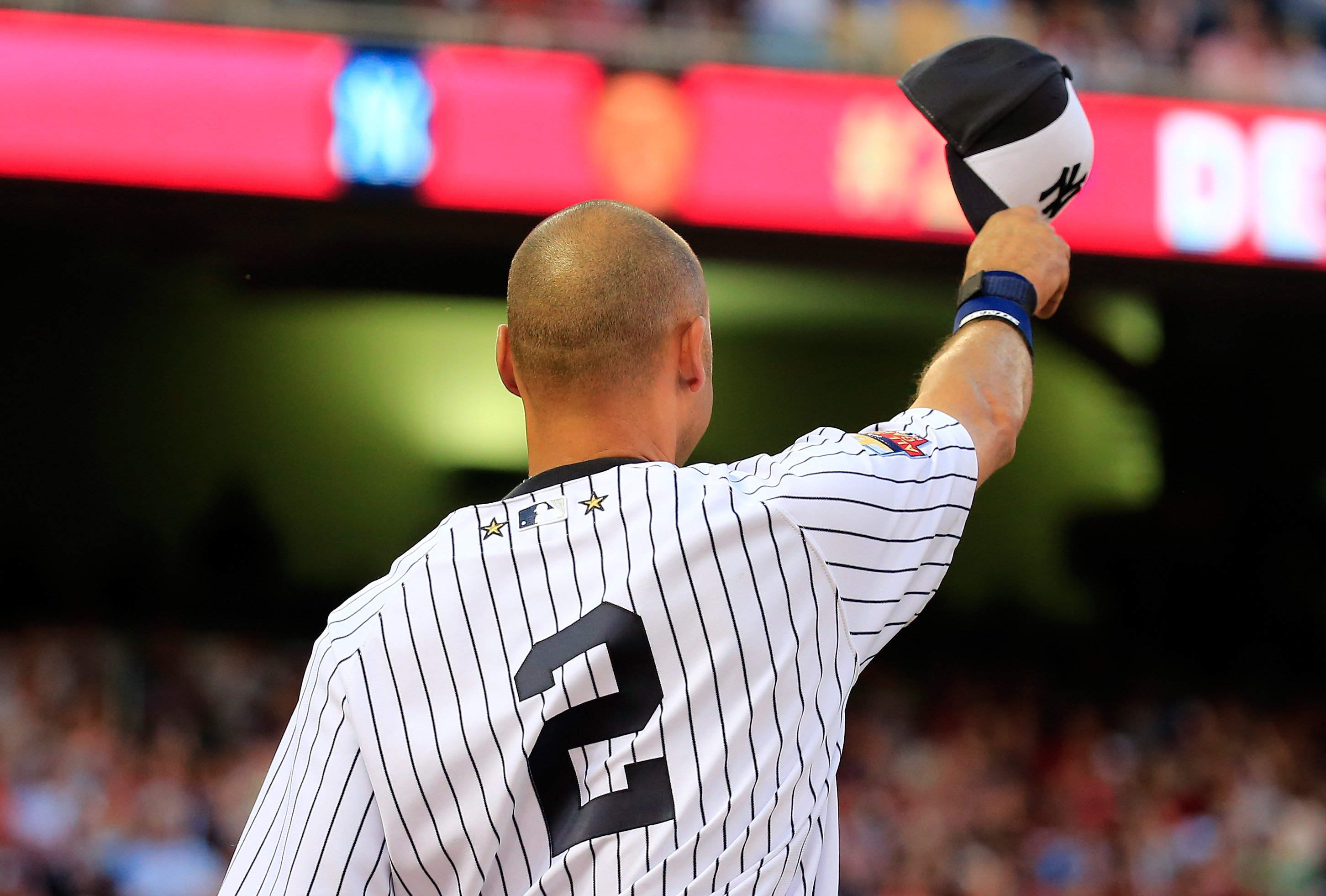 American League All-Star Derek Jeter #2 of the New York Yankees acknowledges the crowd after being pulled in the fourth inning during the 85th MLB All-Star Game at Target Field on July 15, 2014 in Minneapolis.