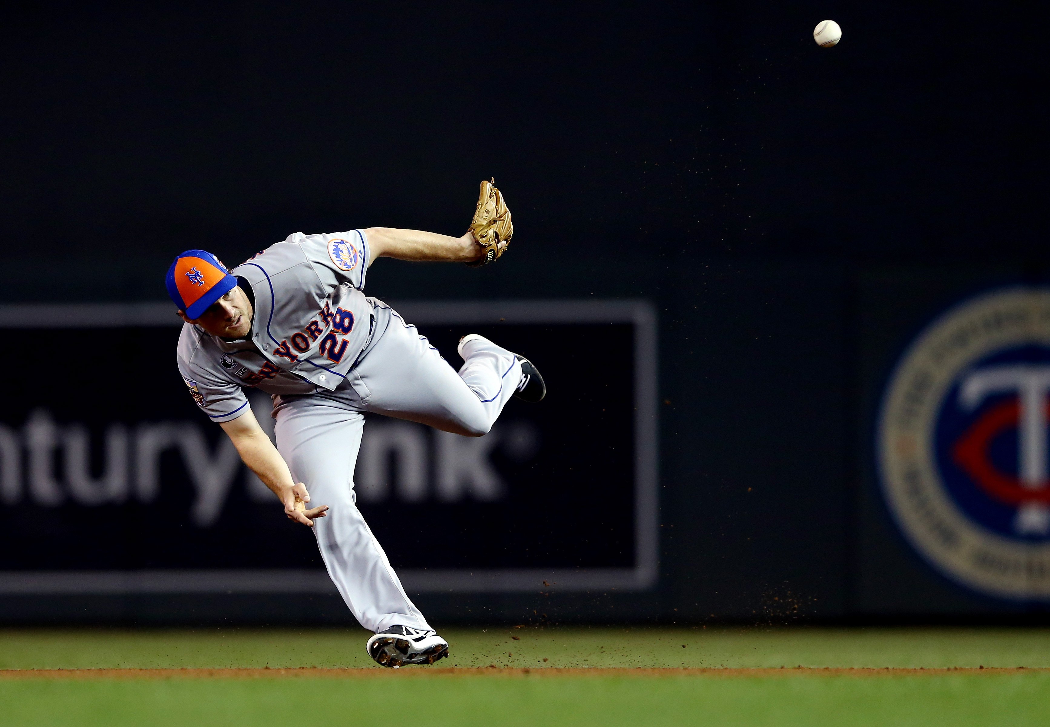 National League All-Star Daniel Murphy of the New York Mets makes a defensive play against the American League All-Stars during the 85th MLB All-Star Game at Target Field on July 15, 2014 in Minneapolis.