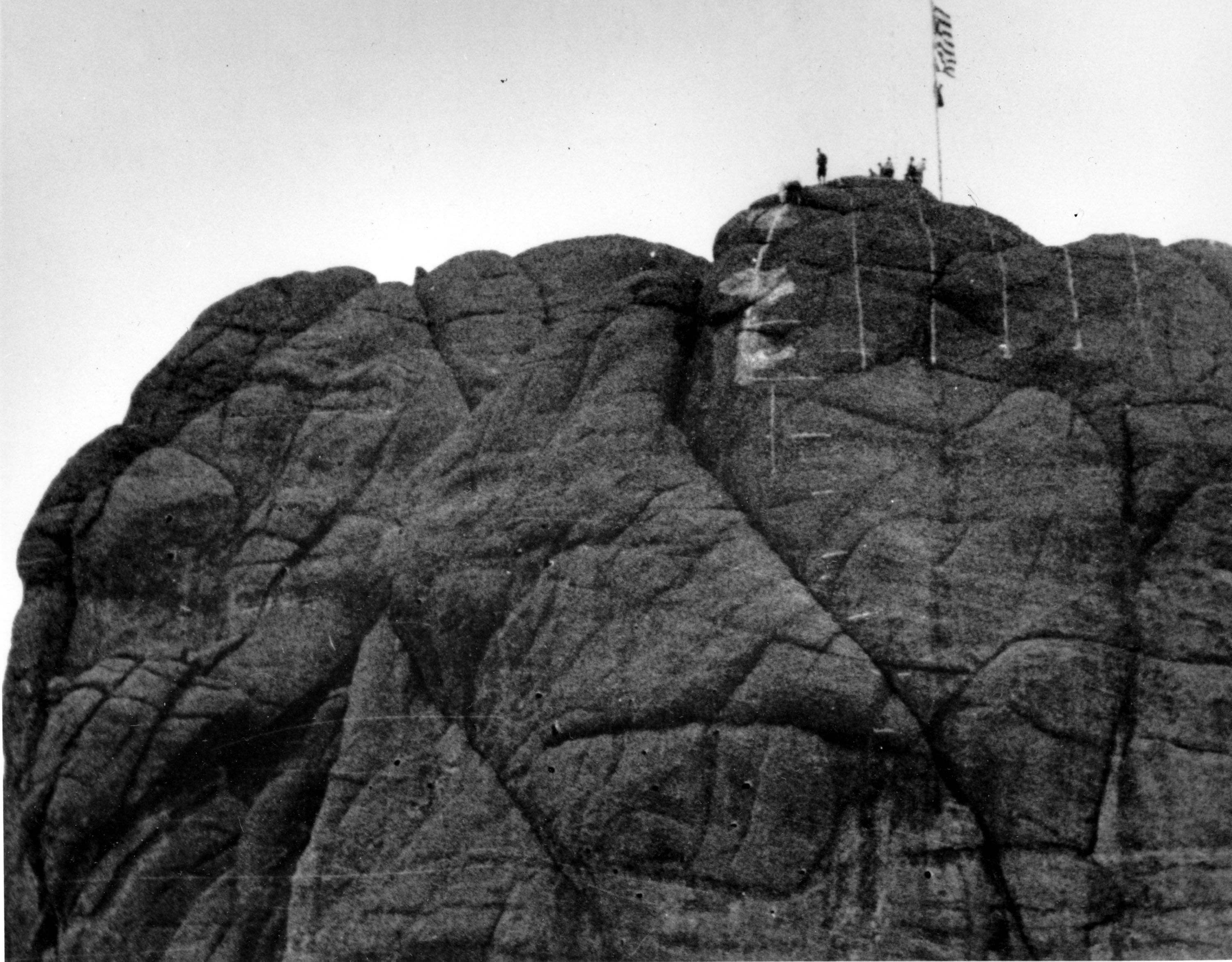 Sculptor Gutzon Borglum has marked off the rock which he will carve the likenesses of U.S. Presidents George Washington, Thomas Jefferson, Abraham Lincoln and Theodore Roosevelt in the Black Hills area of Keystone, S.D., Aug. 15, 1927.