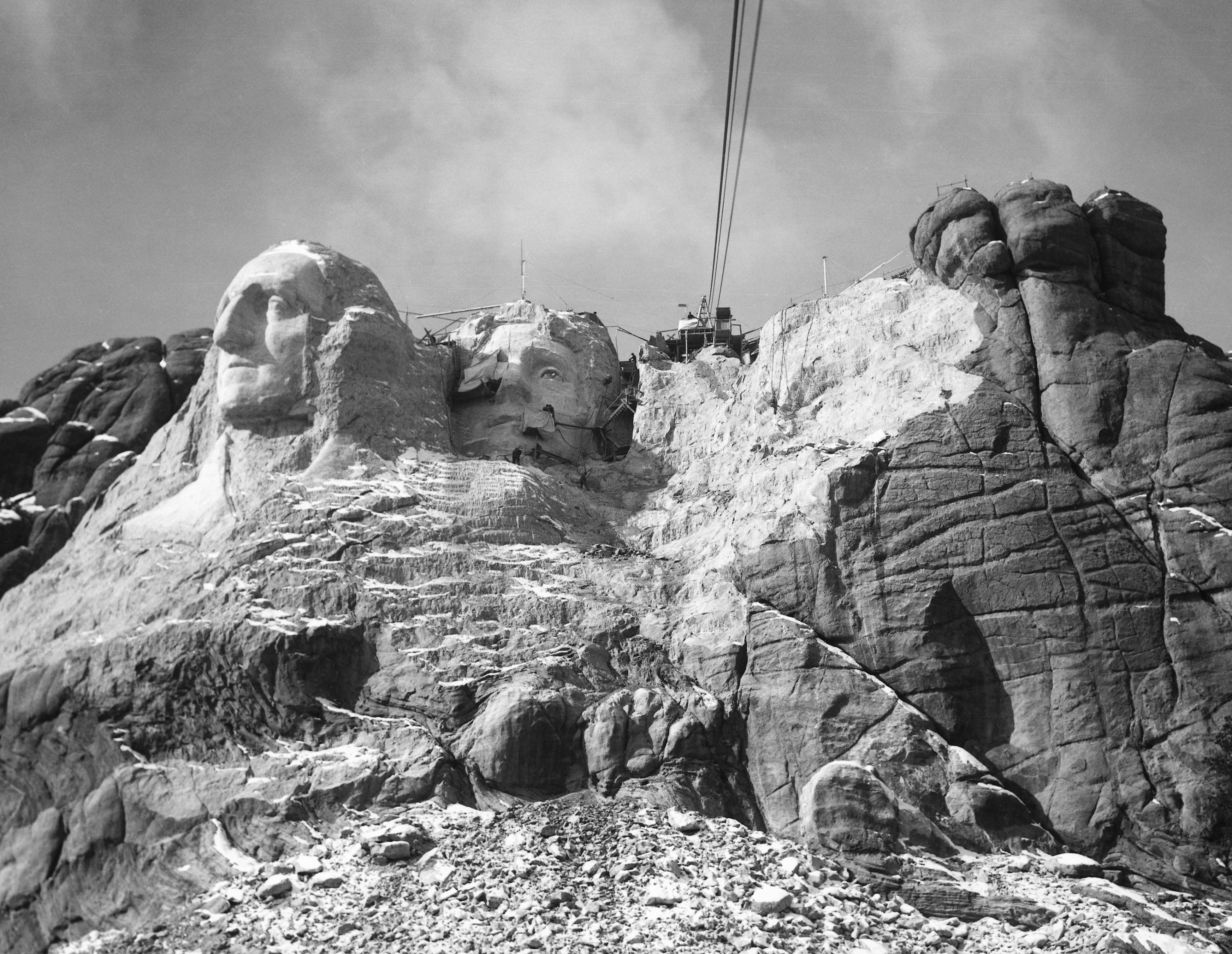 View of Mount Rushmore in progress, 1927-1941.