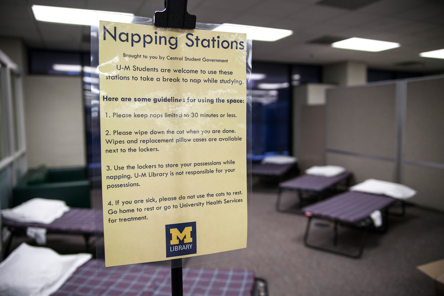 An April 29, 2014 photo shows the napping station that was implemented at the Shapiro Undergraduate Library at the University of Michigan in Ann Arbor, Michigan.