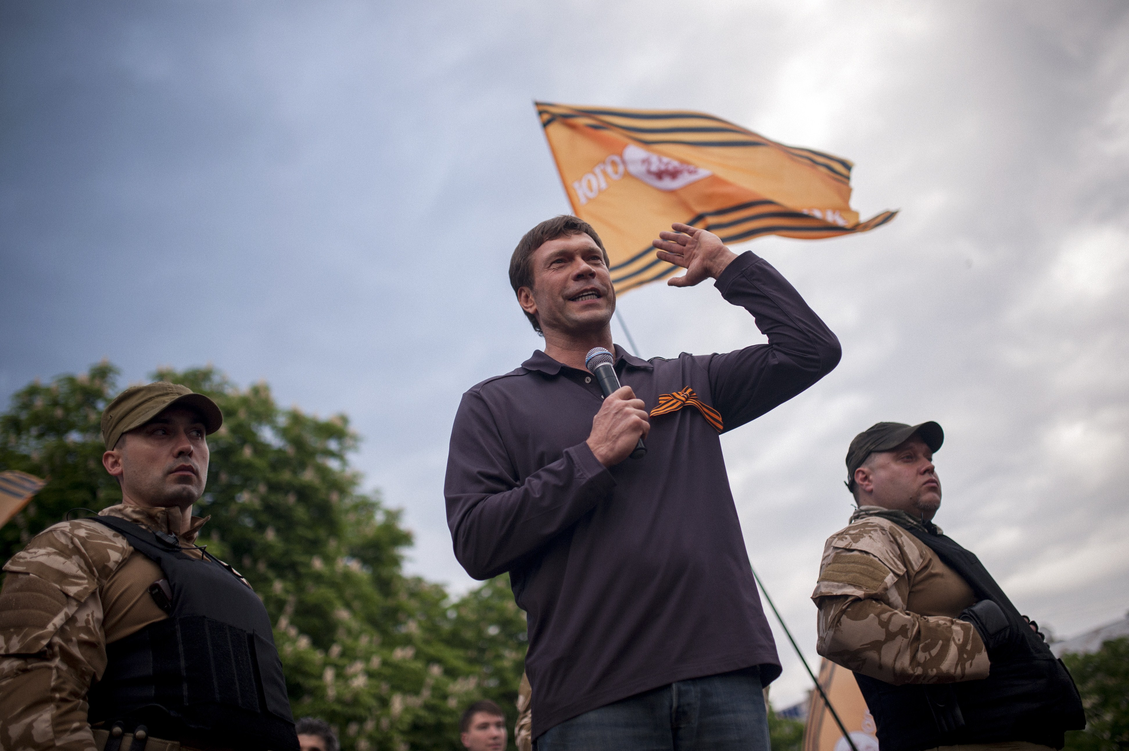 Oleg Tsarev, a withdrew candidate in the 2014 Ukrainian presidential election delivers a speech during celebrations of whate pro-Russian activists of what they claimed was resounding victory in an independence referendum in the eastern Ukrainian city of Lugansk, on May 12, 2014.