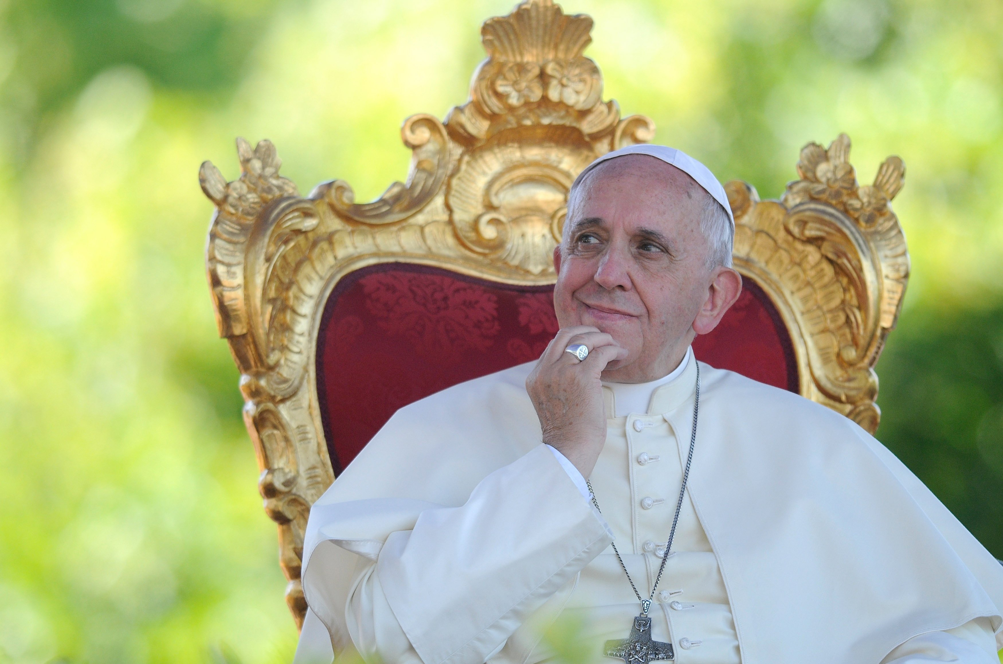 Pope Francis attends a meeting with young people at the Sanctuary of Castelpetroso in Campobasso, Italy on July 5, 2014.