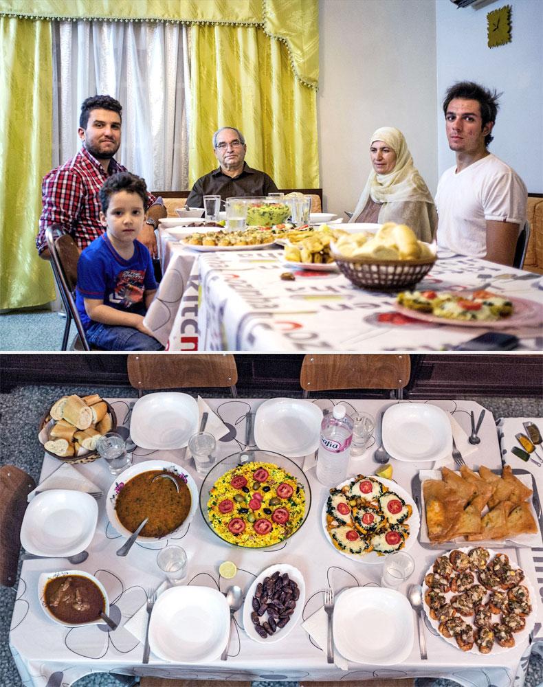 The Hammami family waits to break their fast  in the Bardo neighborhood near the Tunisian capital, Tunis on July 7, 2014.