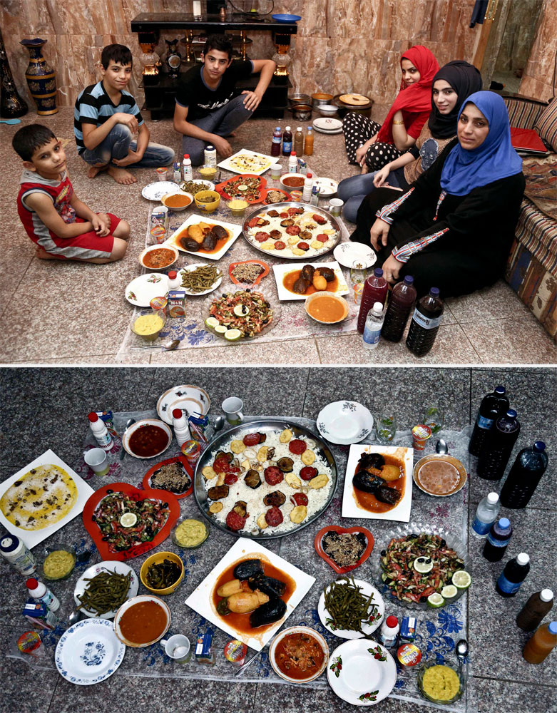 A Muslim family waits to break their fast in Baghdad on July 6, 2014.